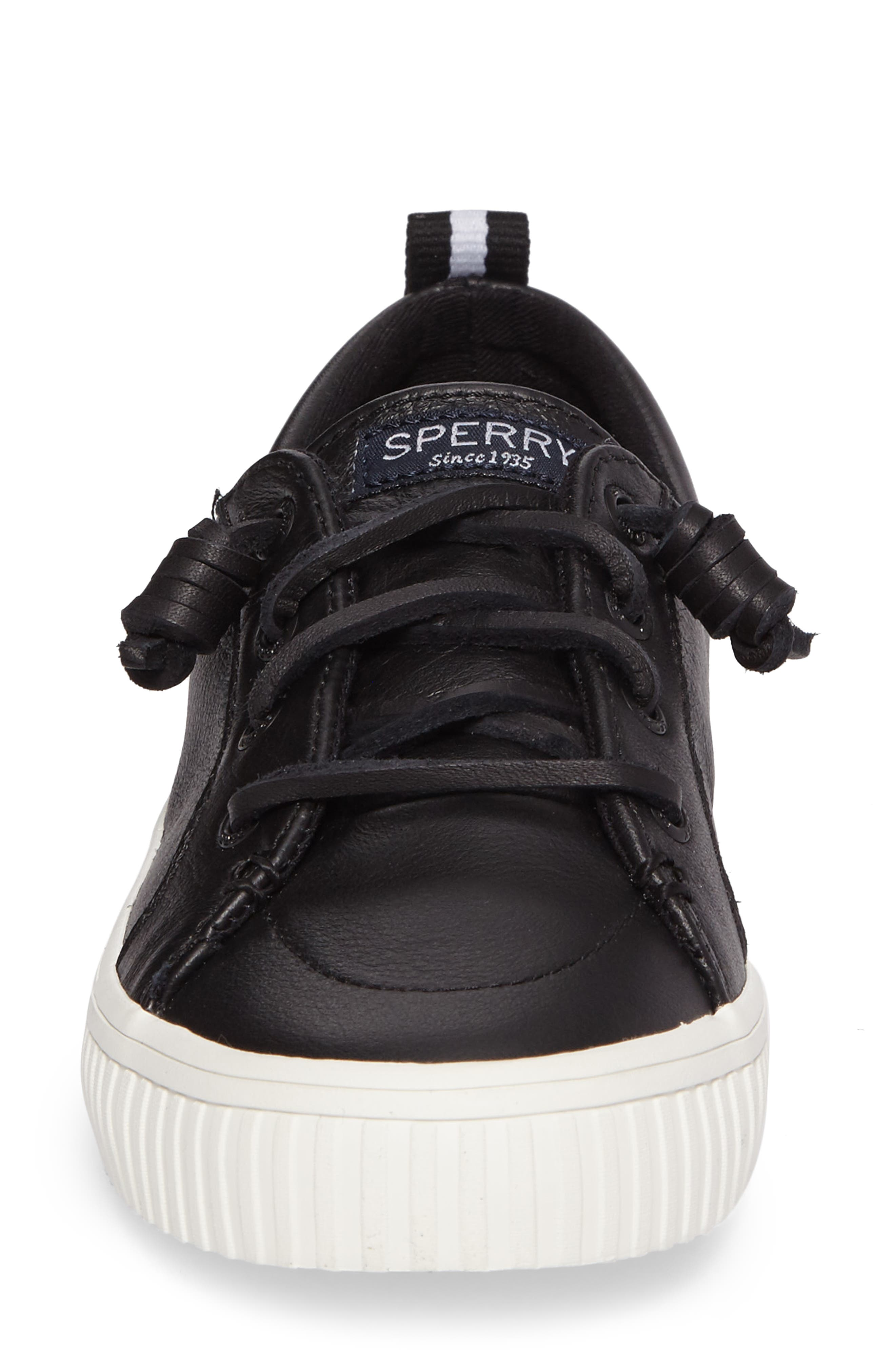 Crest Vibe Creeper Sneaker,                             Alternate thumbnail 4, color,                             Black Leather