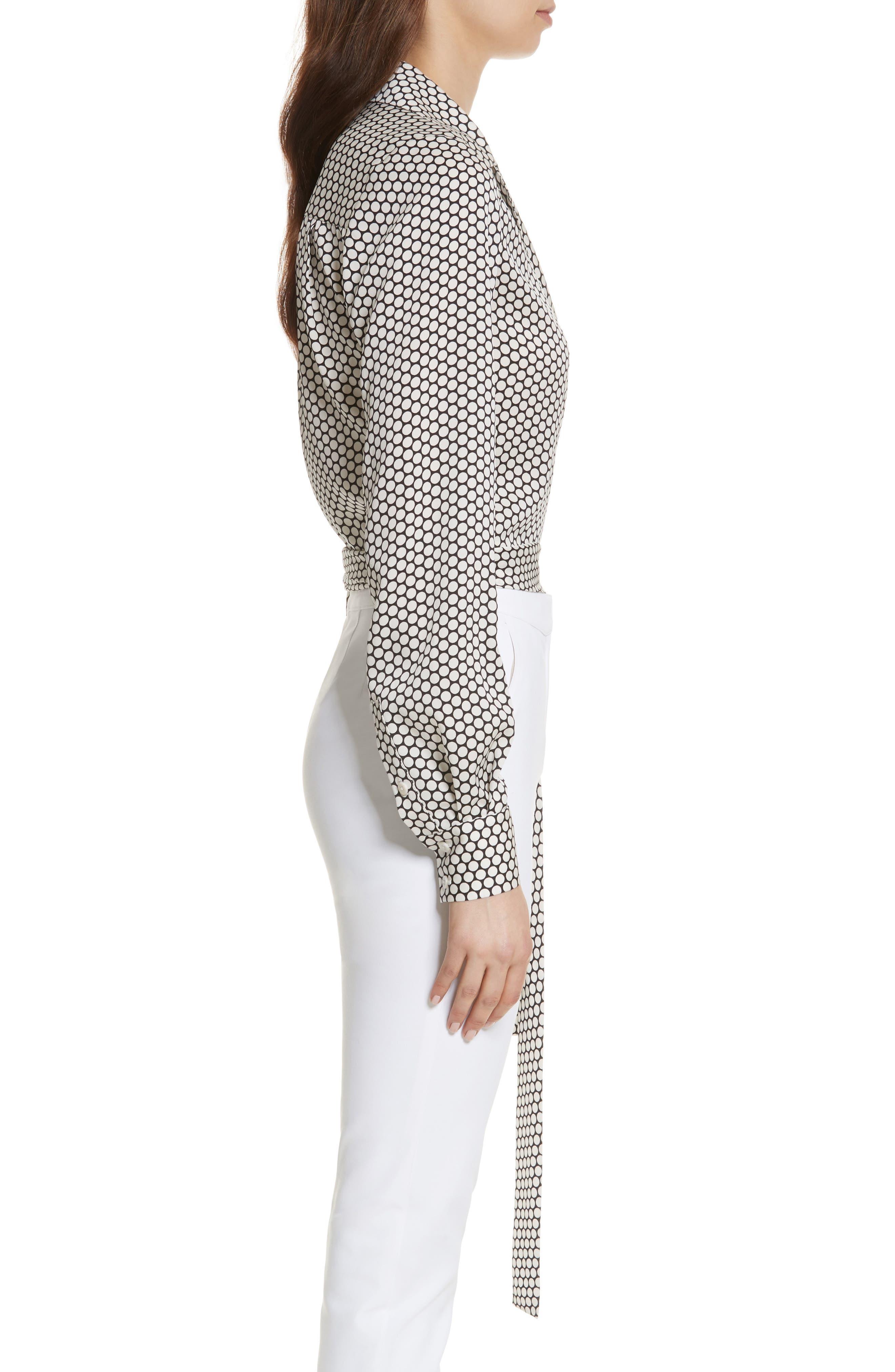 Diane von Furstenberg Stretch Silk Wrap Blouse,                             Alternate thumbnail 3, color,                             Rowe Dot Ivory