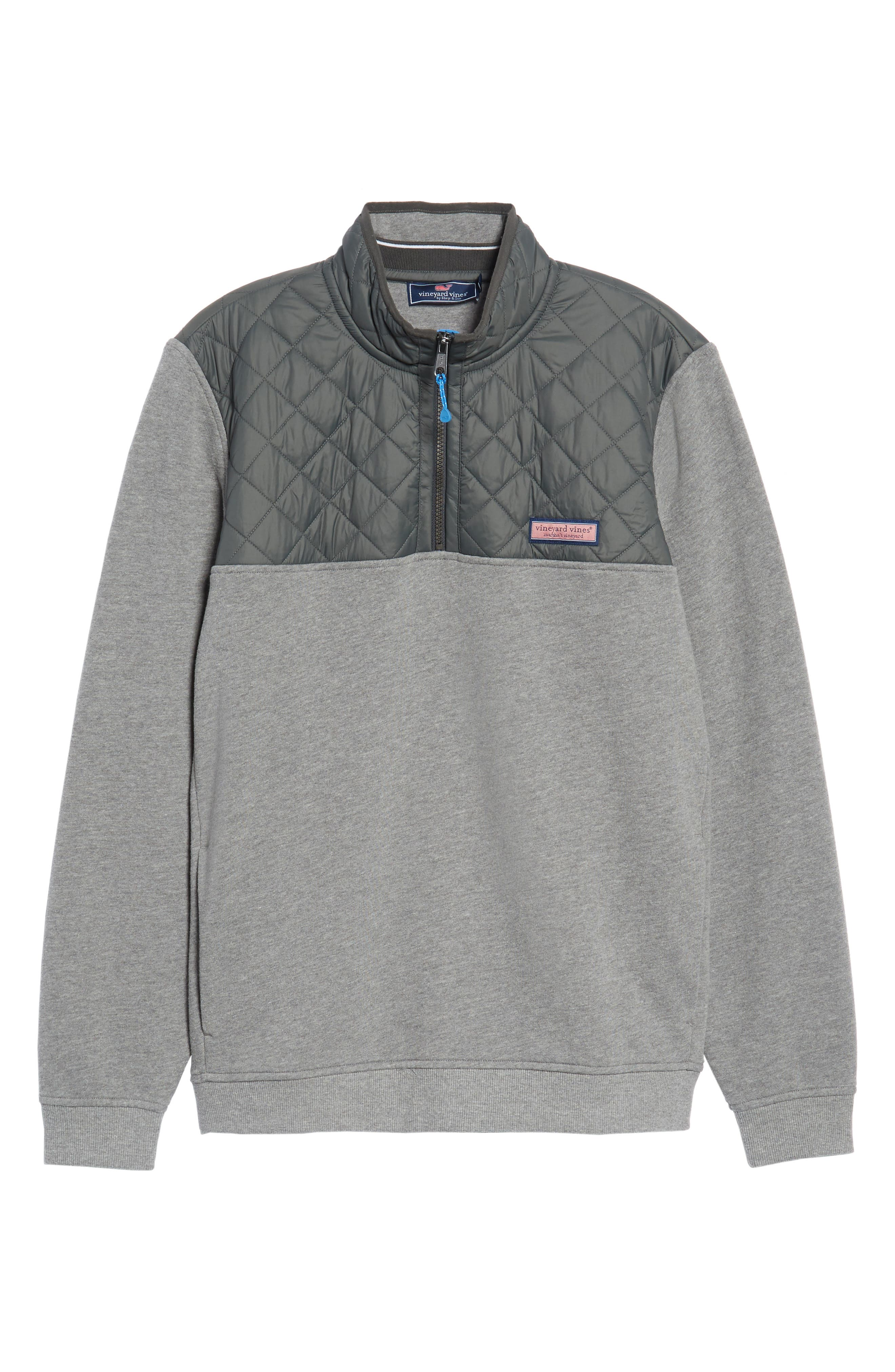 Shep Performance Quilted Yoke Quarter Zip Pullover,                             Alternate thumbnail 6, color,                             Medium Heather Grey