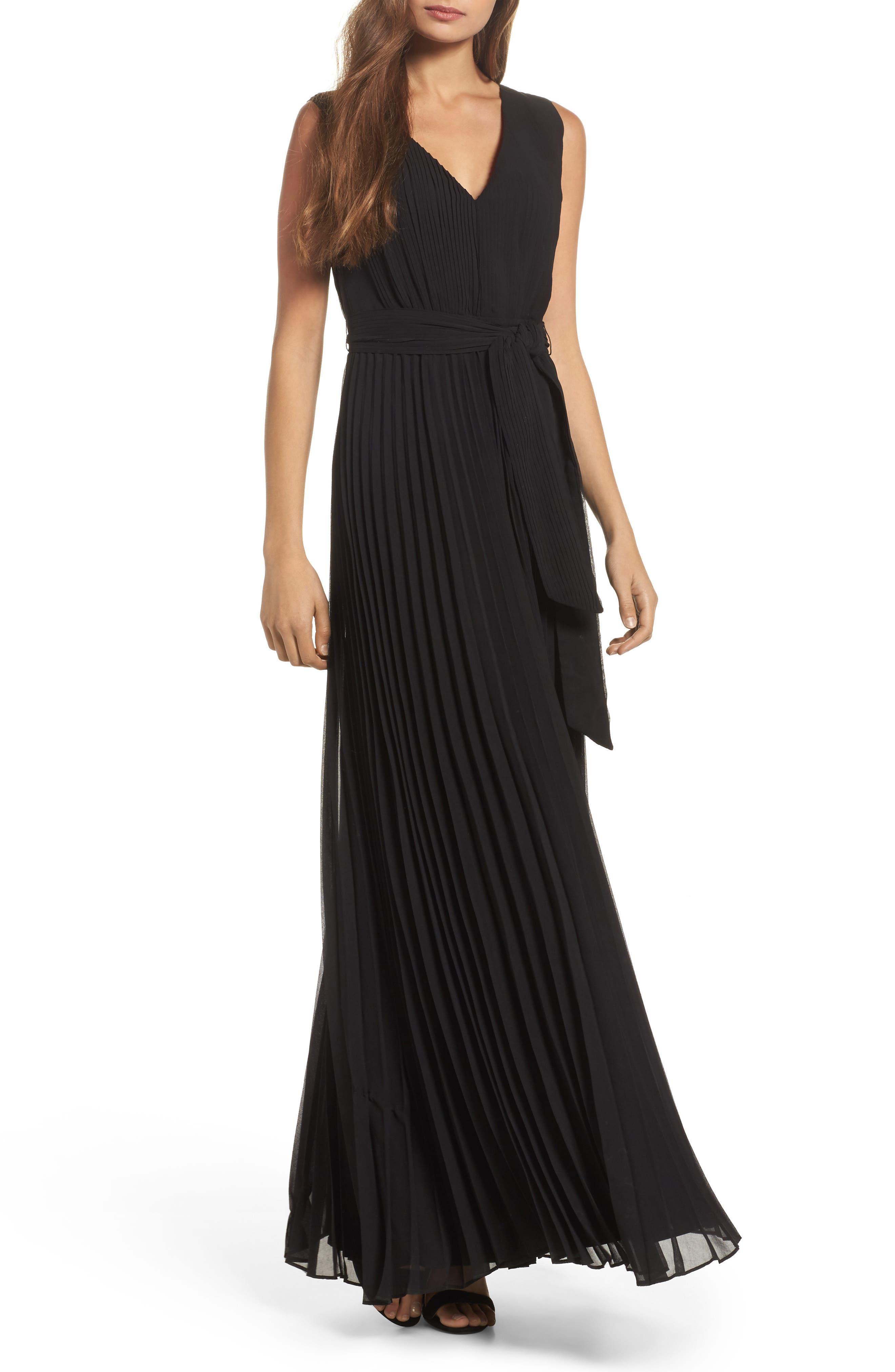 Gardenia Pleat Gown,                             Main thumbnail 1, color,                             Black