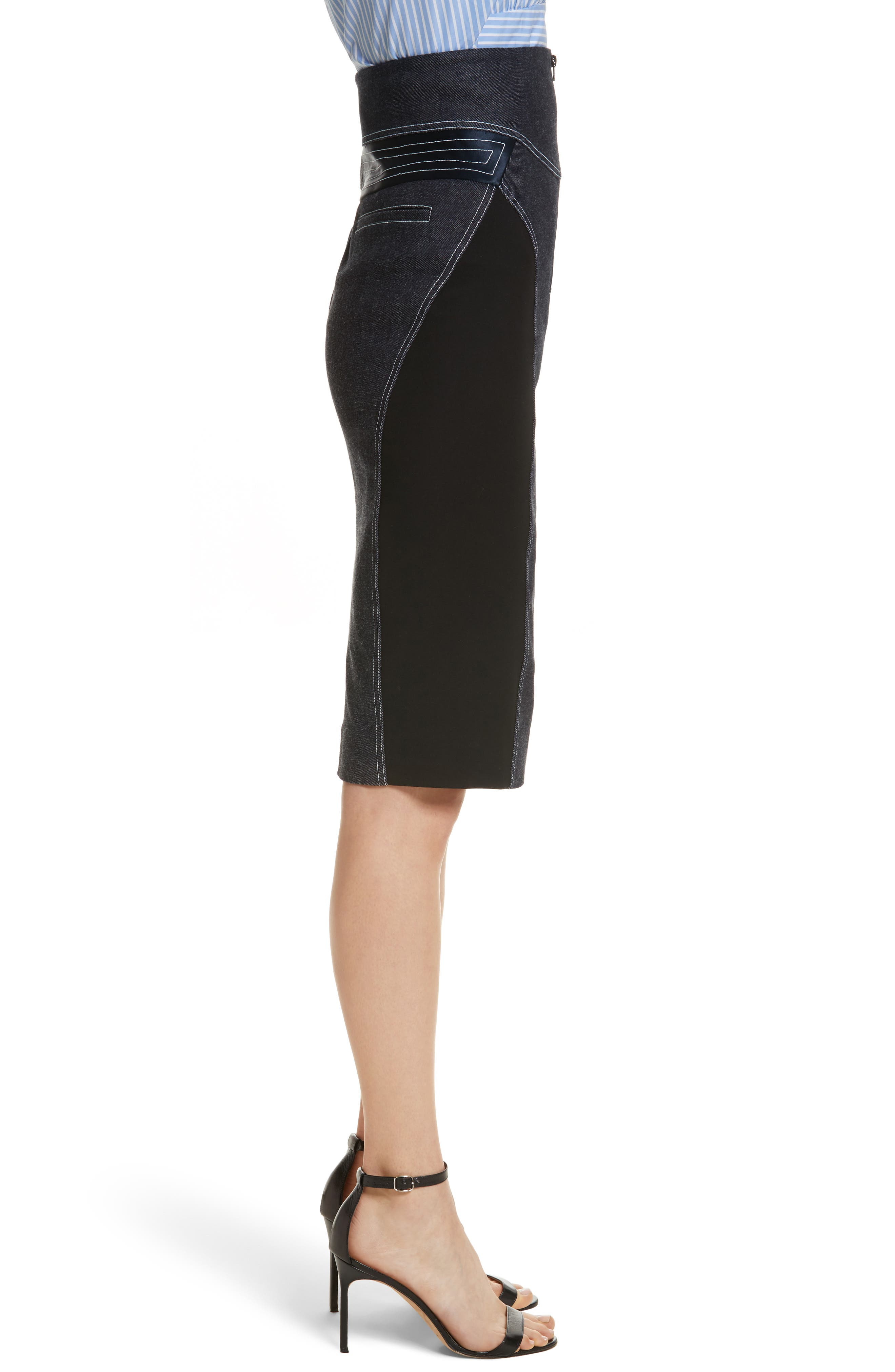 Diane von Furstenberg Denim Pencil Skirt,                             Alternate thumbnail 3, color,                             Indigo/ Black/ Alexander Navy