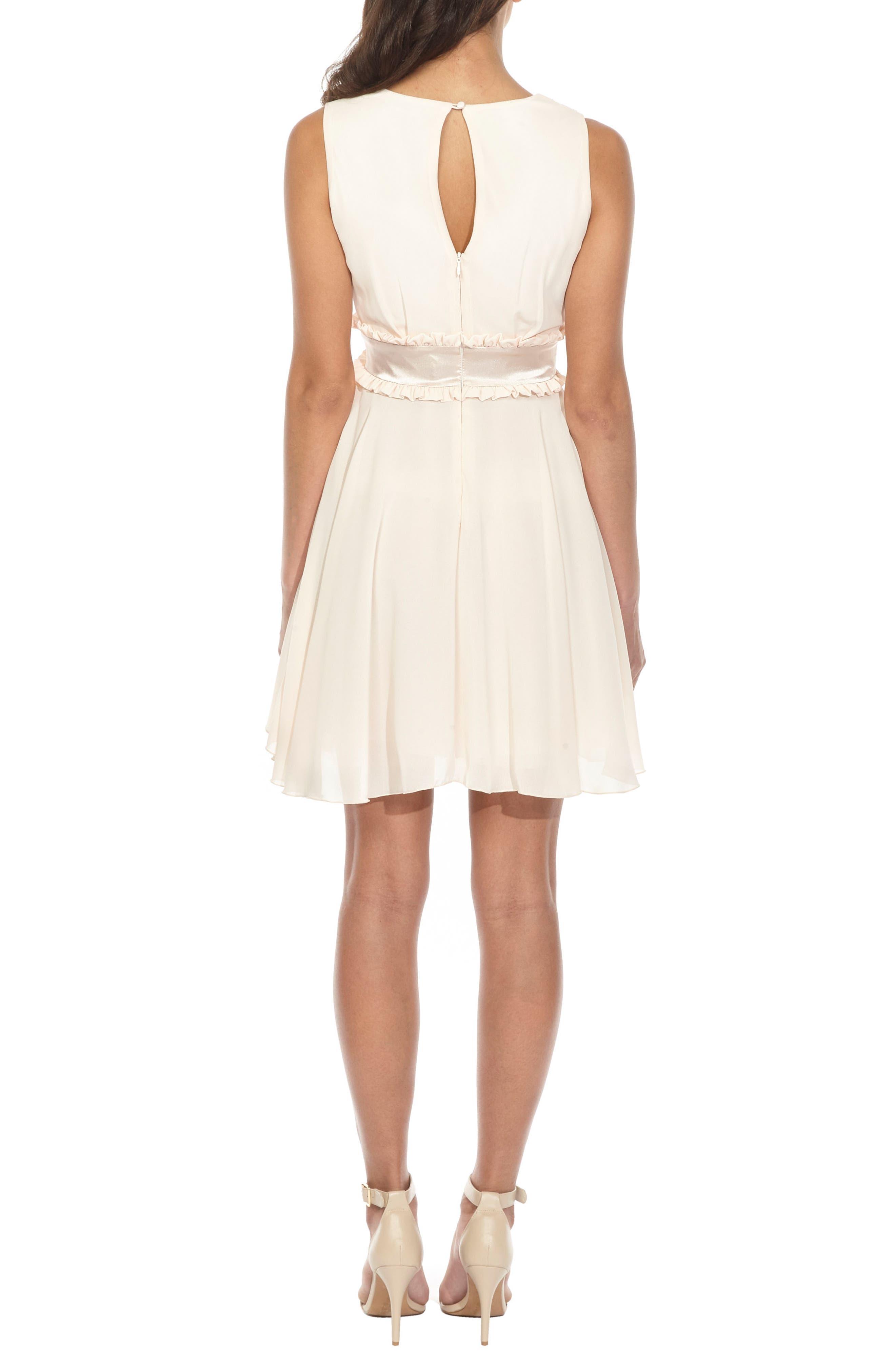 Joany Ruffle Waist Fit & Flare Dress,                             Alternate thumbnail 2, color,                             Nude