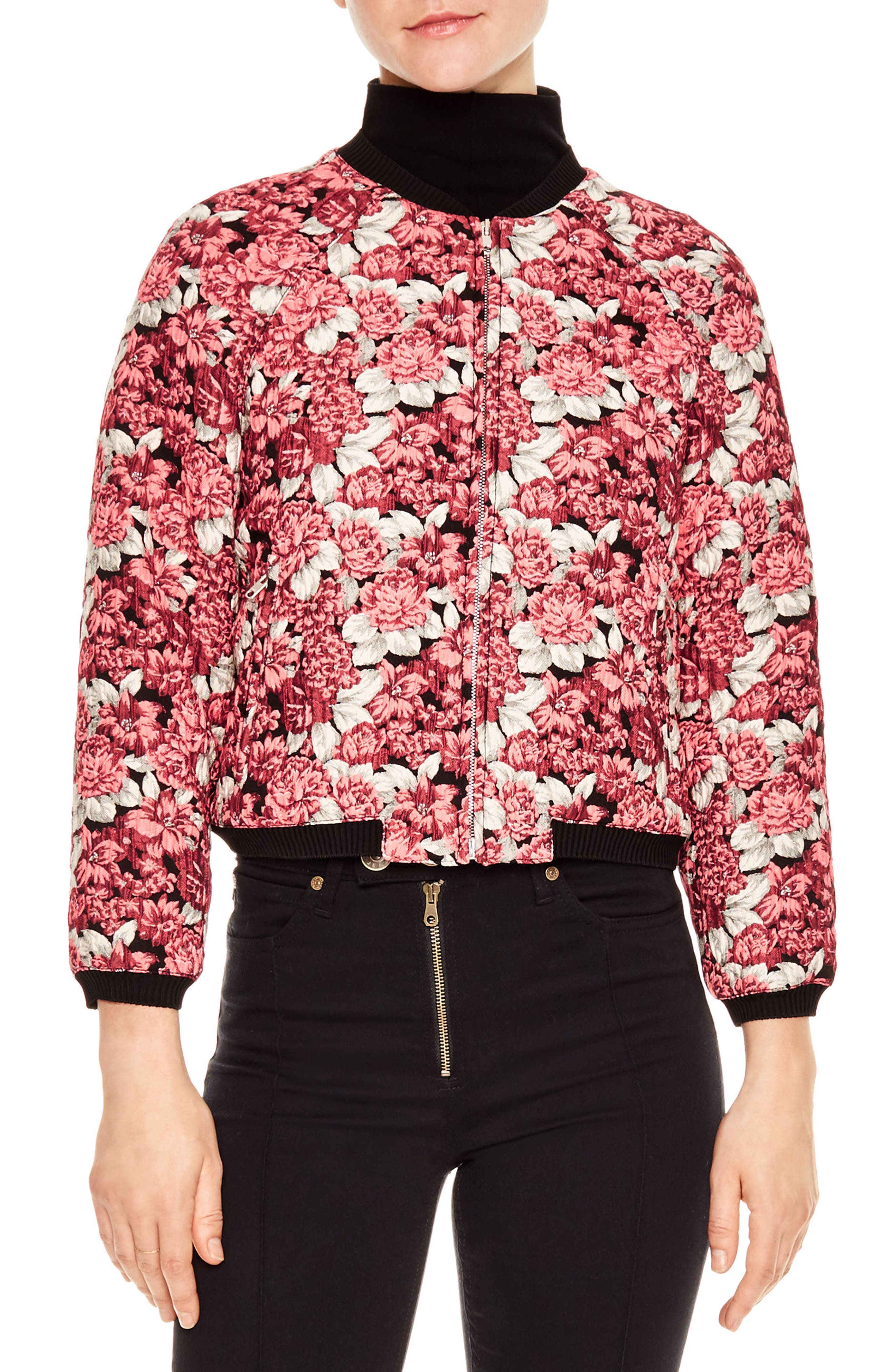 Evora Puffer Bomber Jacket,                             Main thumbnail 1, color,                             Pink