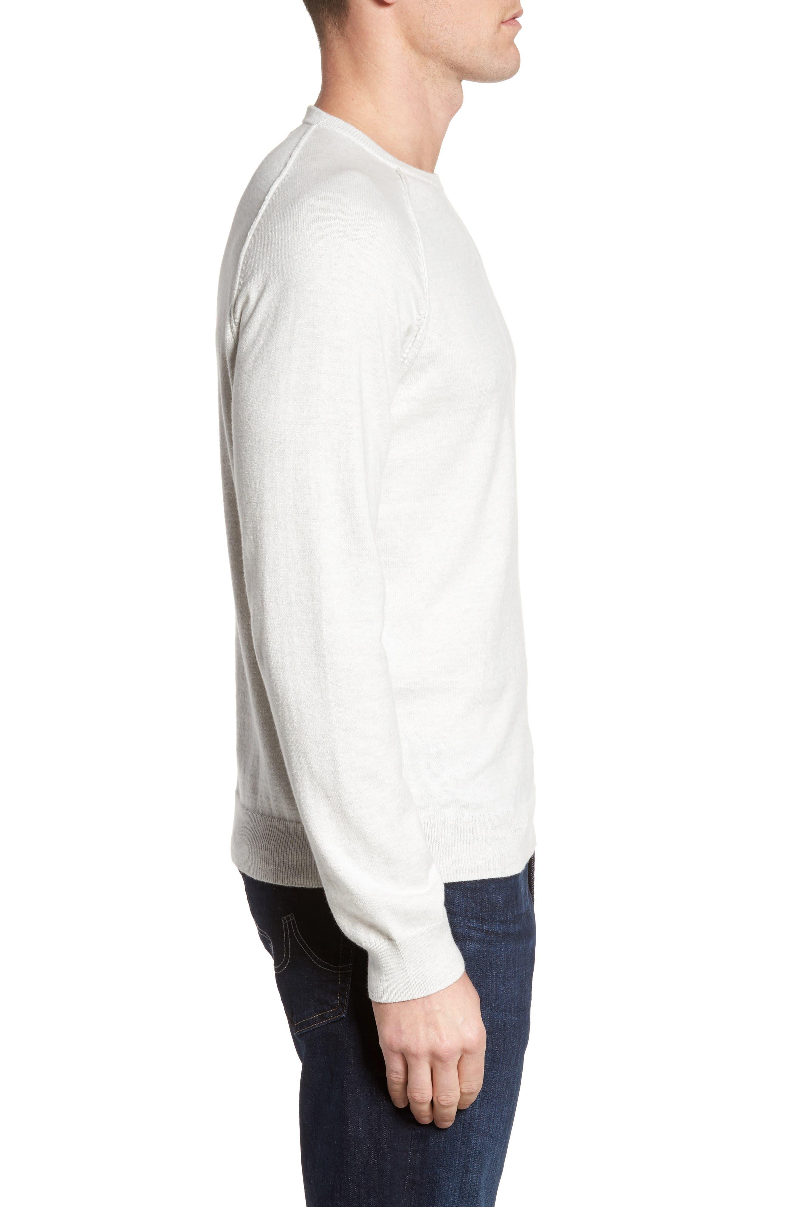 Saddle Shoulder Cotton & Cashmere Sweater,                             Alternate thumbnail 3, color,                             White Marl