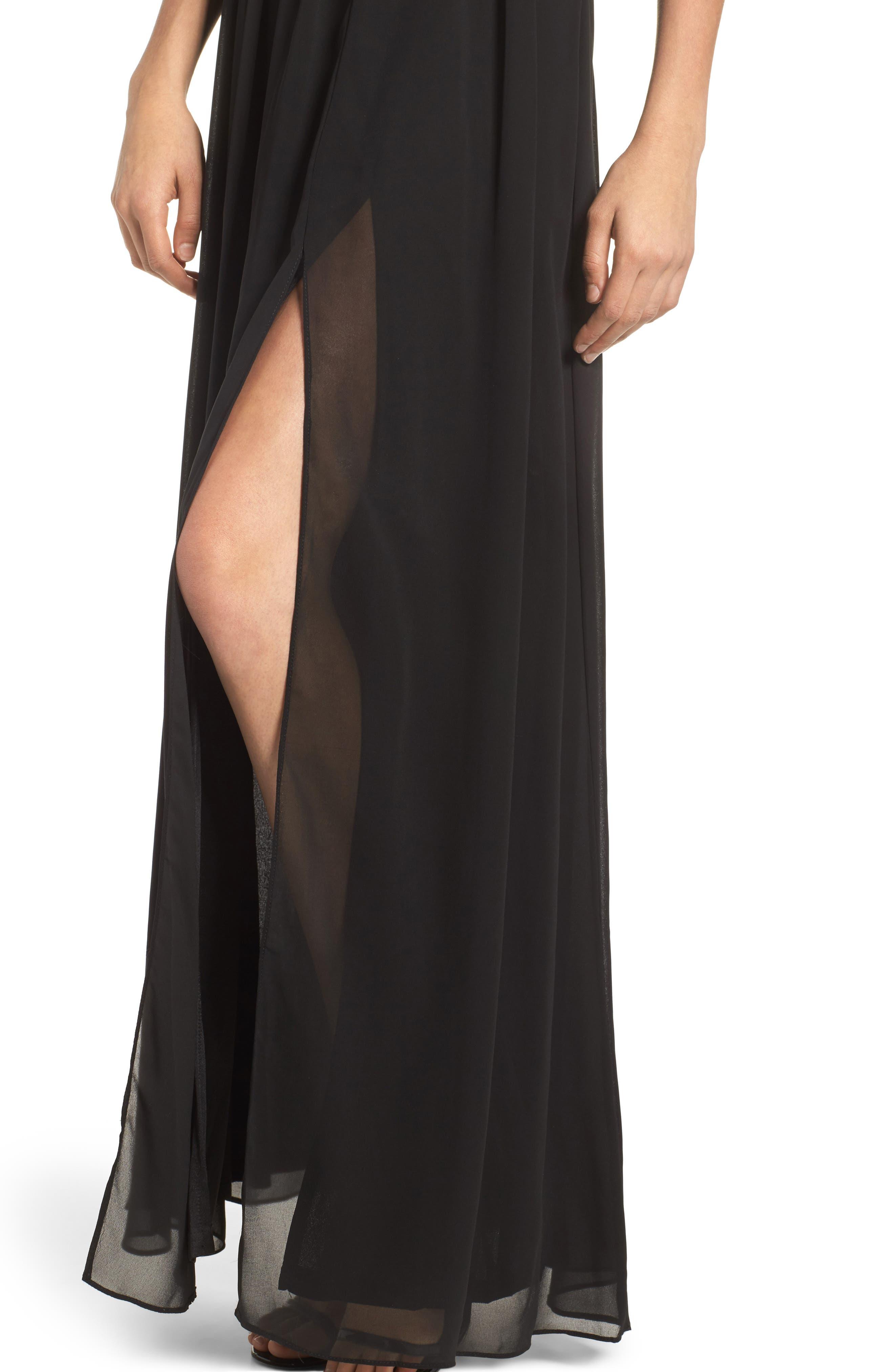 Sequin Lace & Chiffon Halter Gown,                             Alternate thumbnail 4, color,                             Black/ Nude
