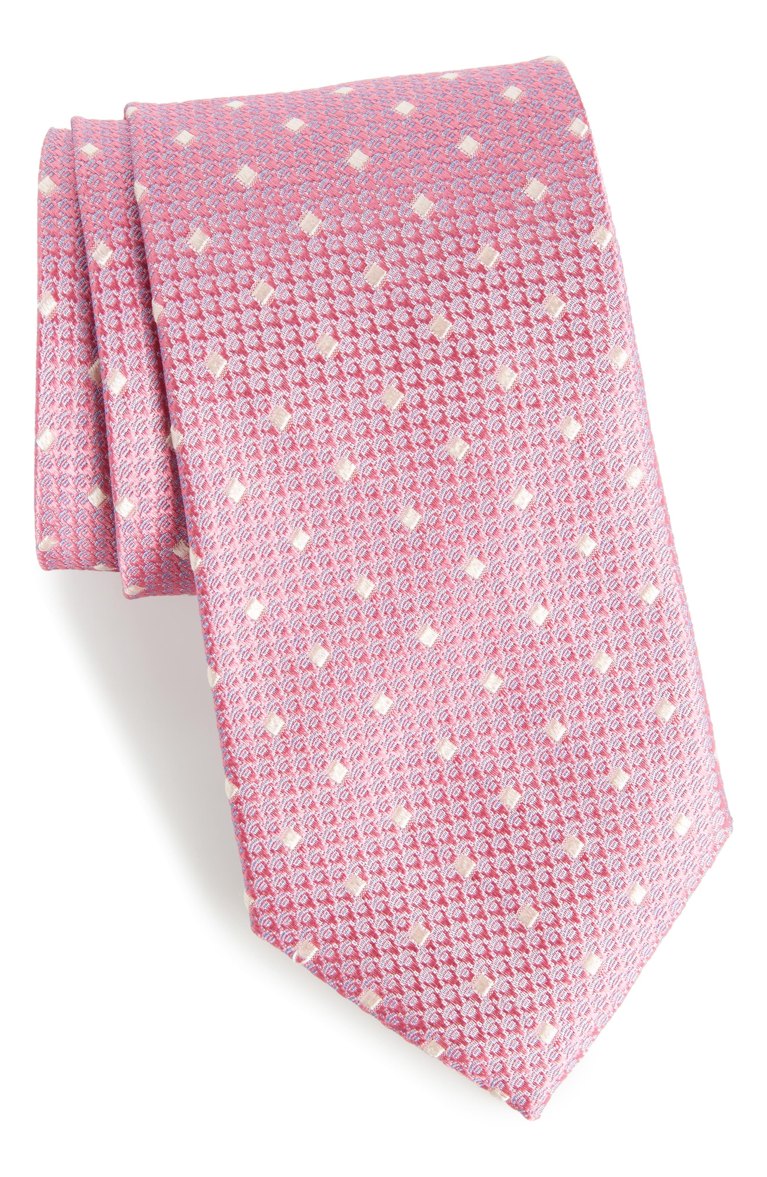 Contrada Dot Silk Tie,                         Main,                         color, Pink
