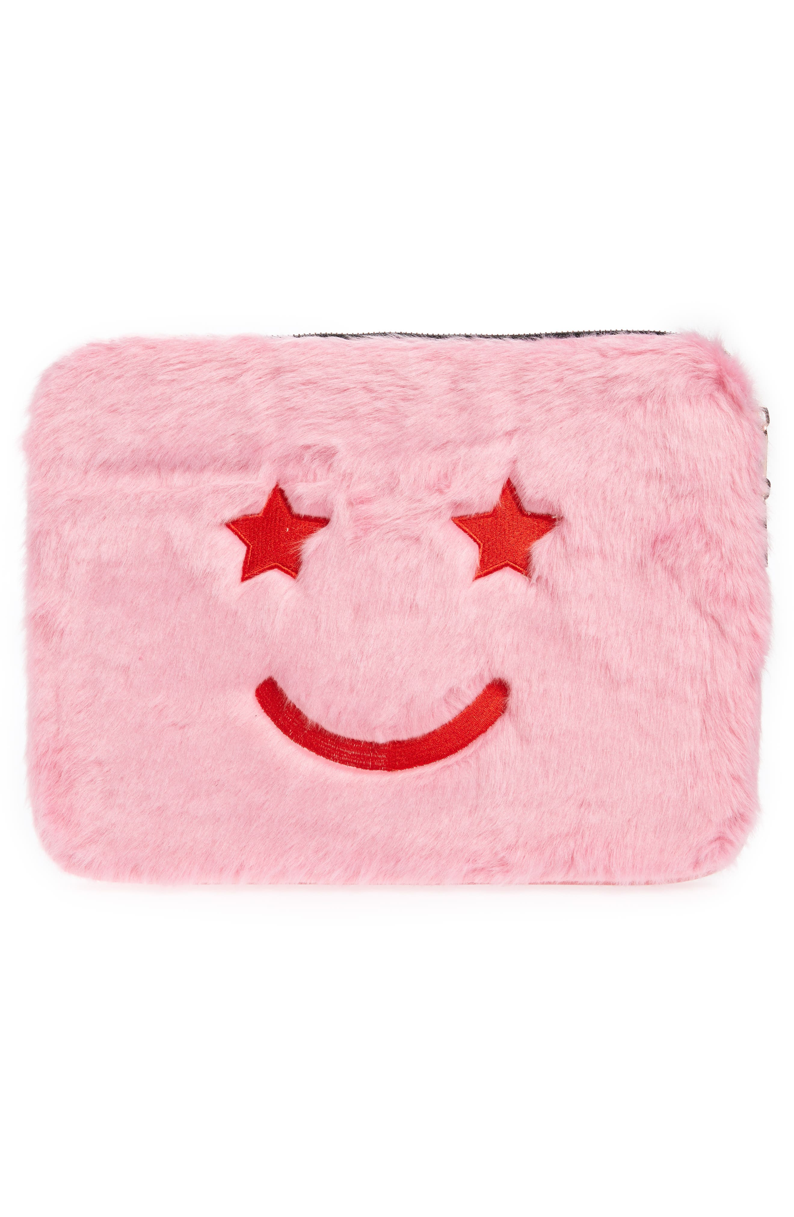 Skinny Dip Faux Fur Smiley 13-Inch Laptop Case,                             Main thumbnail 1, color,                             Pink