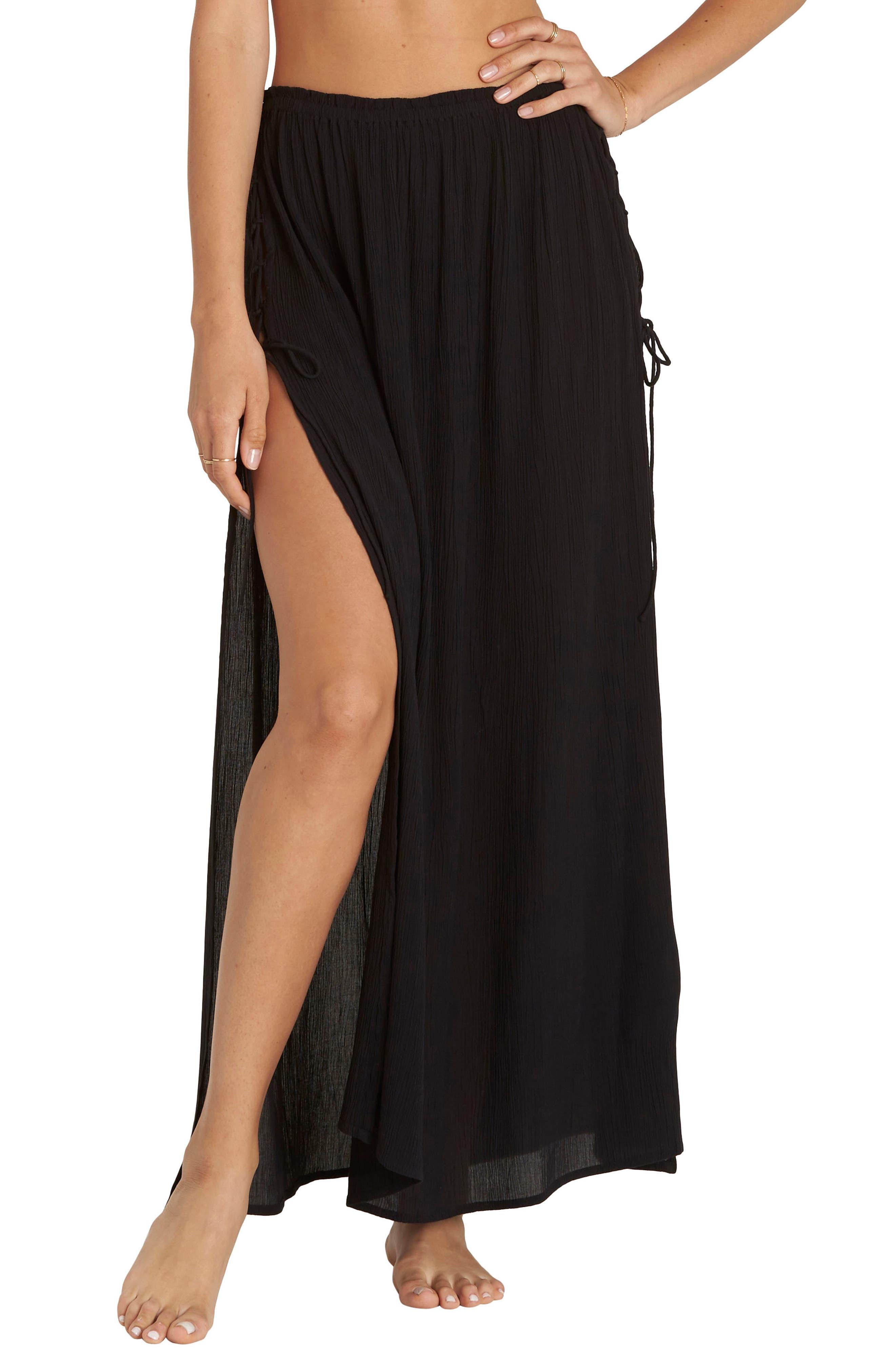 Split Heart Maxi Skirt,                             Main thumbnail 1, color,                             Black Pebble