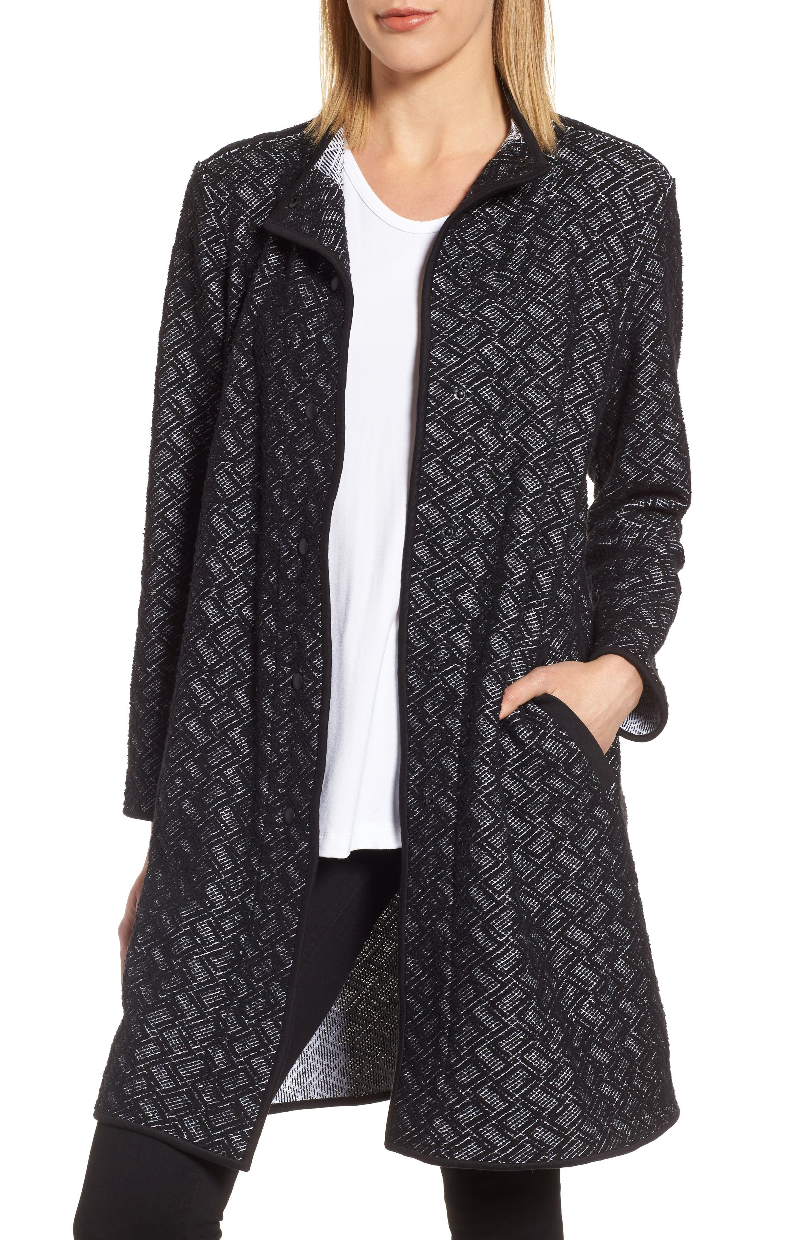 Funnel Neck Jacket,                         Main,                         color, Black