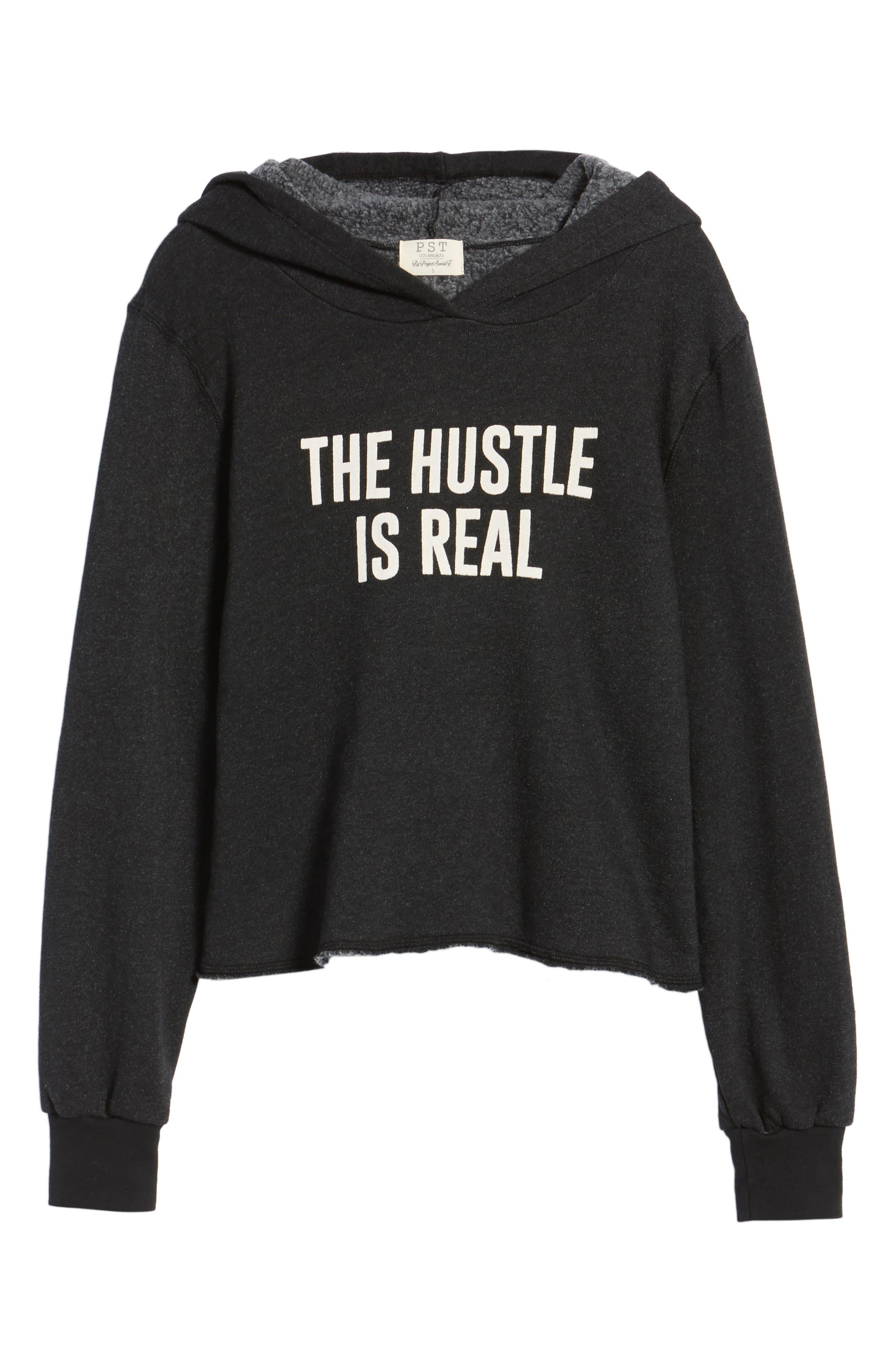 The Hustle is Real Hoodie,                             Alternate thumbnail 6, color,                             Black