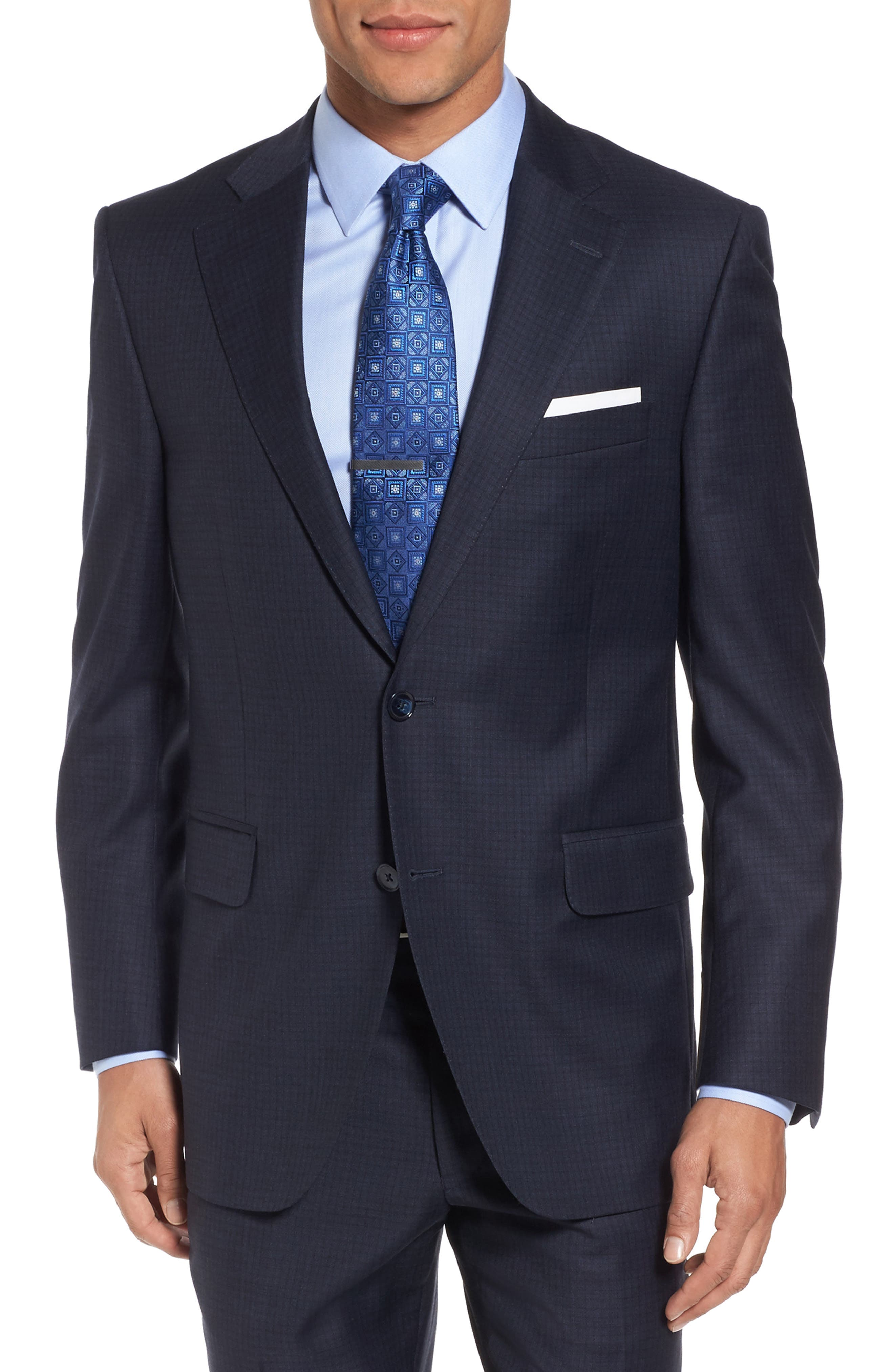 Classic Fit Check Wool Suit,                             Alternate thumbnail 5, color,                             Navy