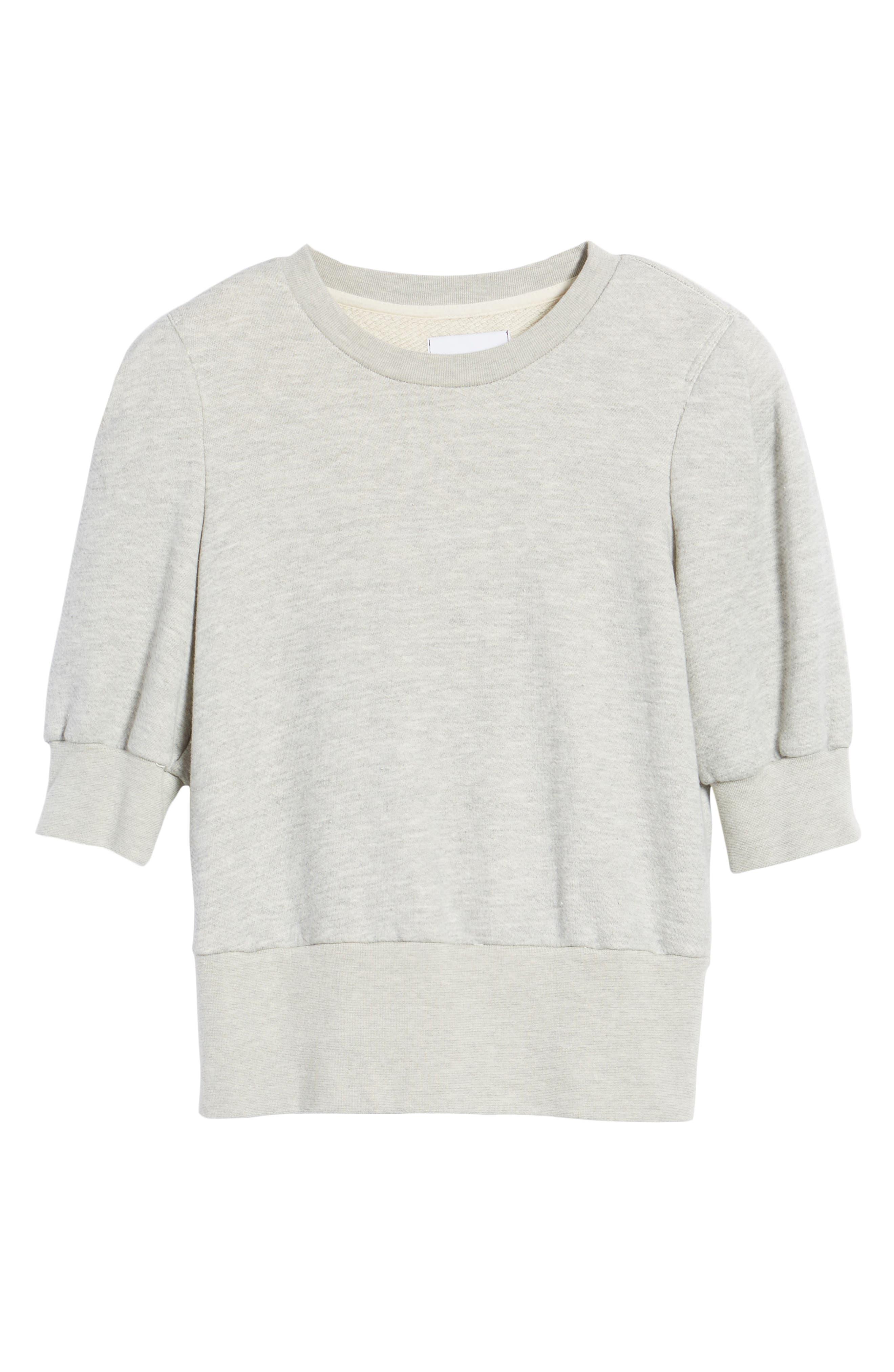 The Pleat Sweatshirt,                             Alternate thumbnail 6, color,                             Light Heather Grey Terry