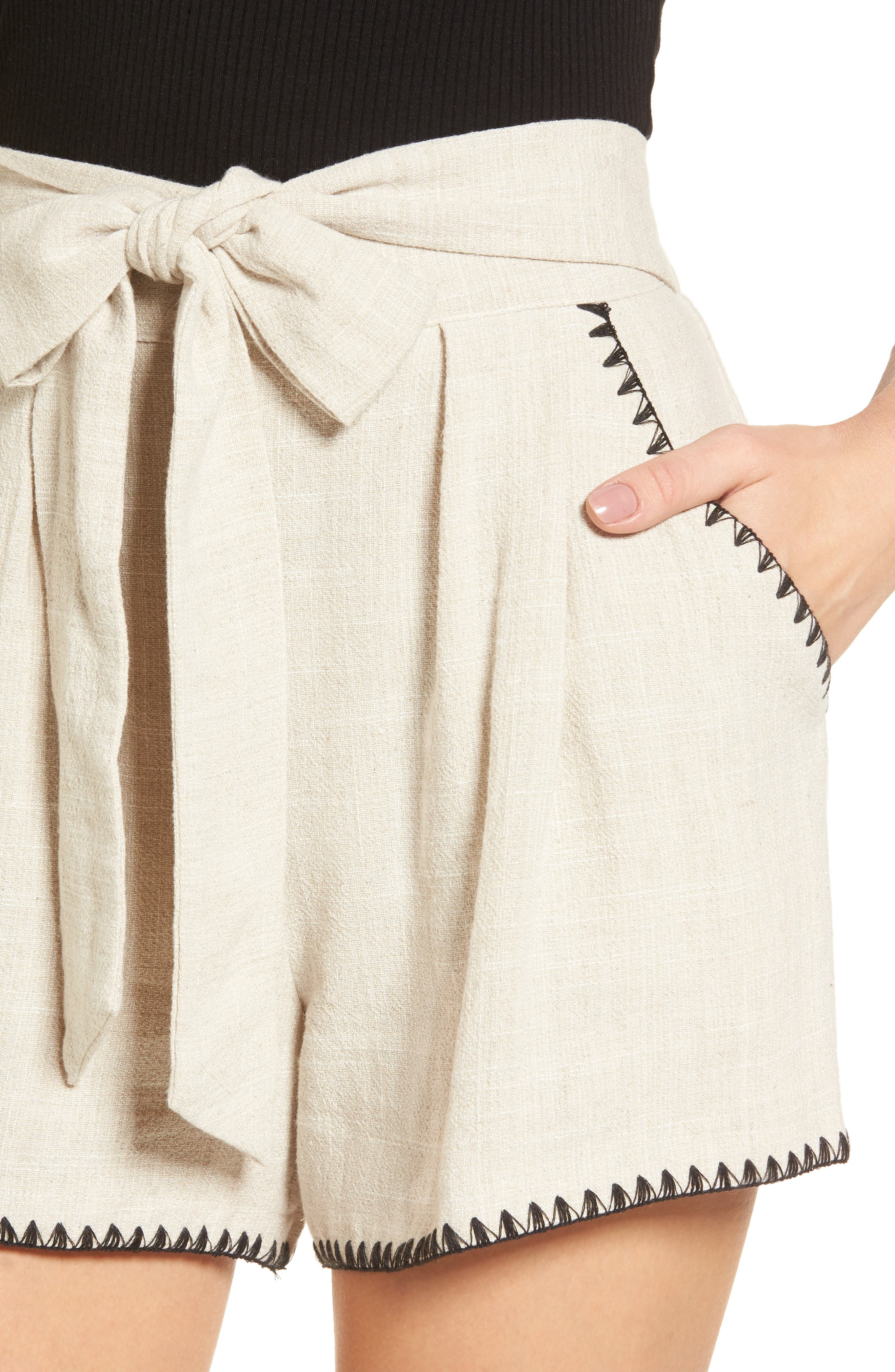 Alternate Image 5  - MOON RIVER Pleat Blanket Stitch Shorts
