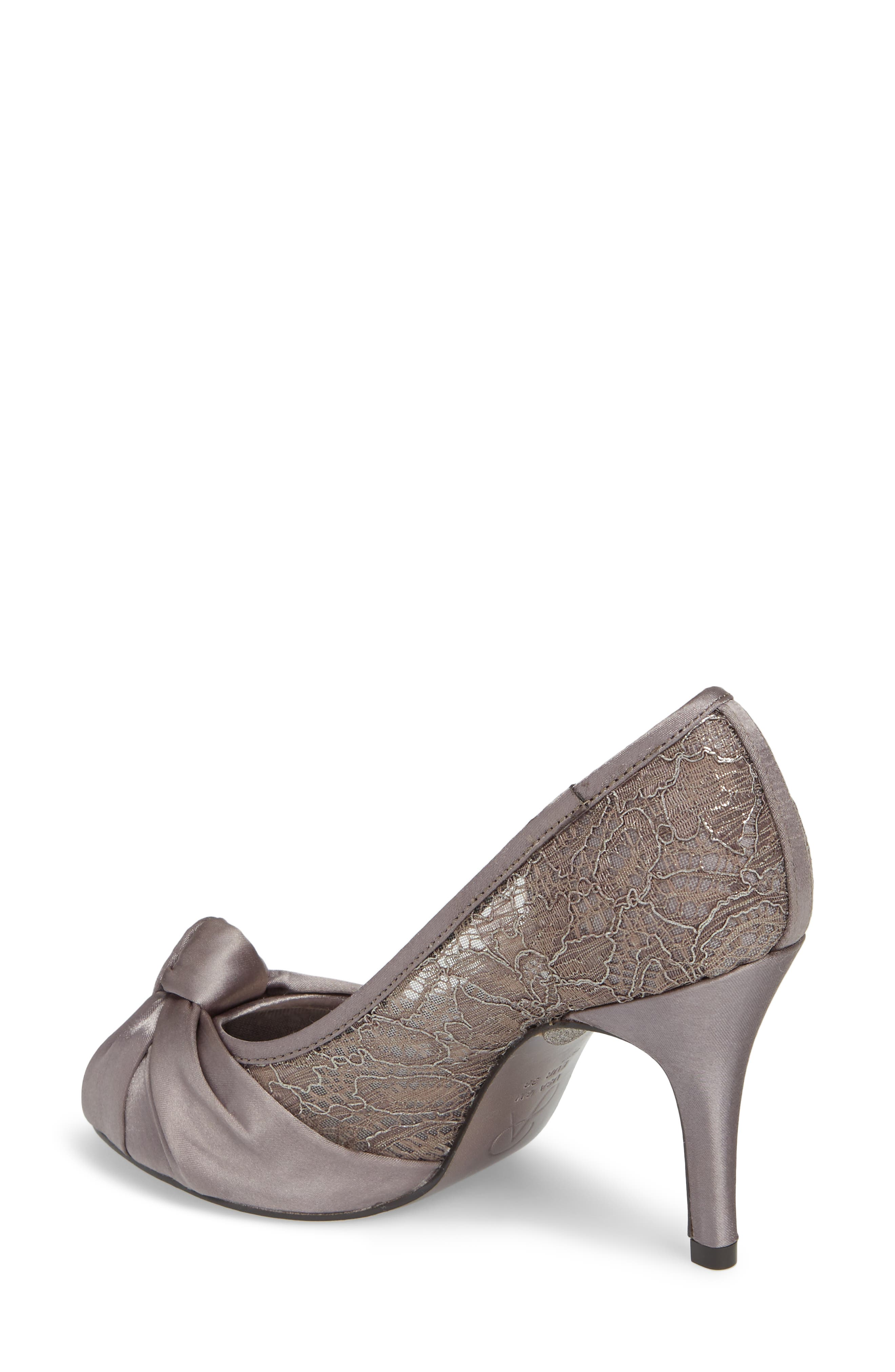 Francesca Knotted Peep Toe Pump,                             Alternate thumbnail 2, color,                             Steel Satin