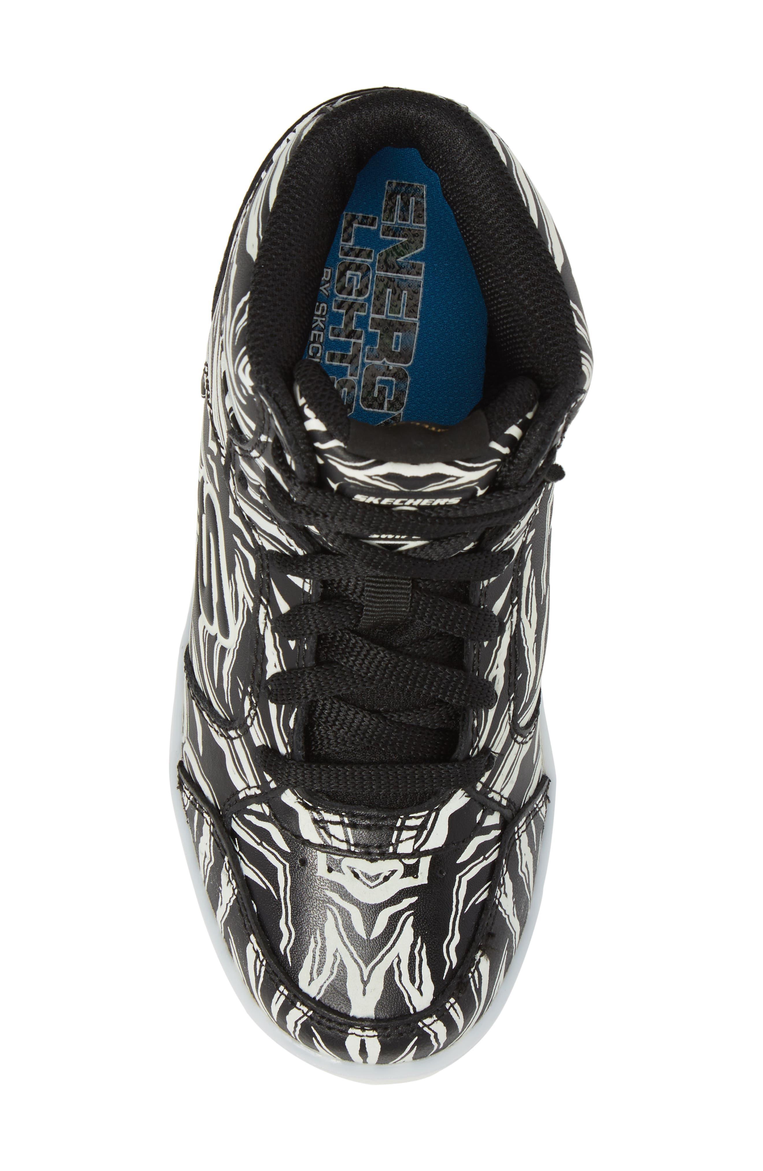 Energy Lights Glow in the Dark Sneaker,                             Alternate thumbnail 8, color,                             Black