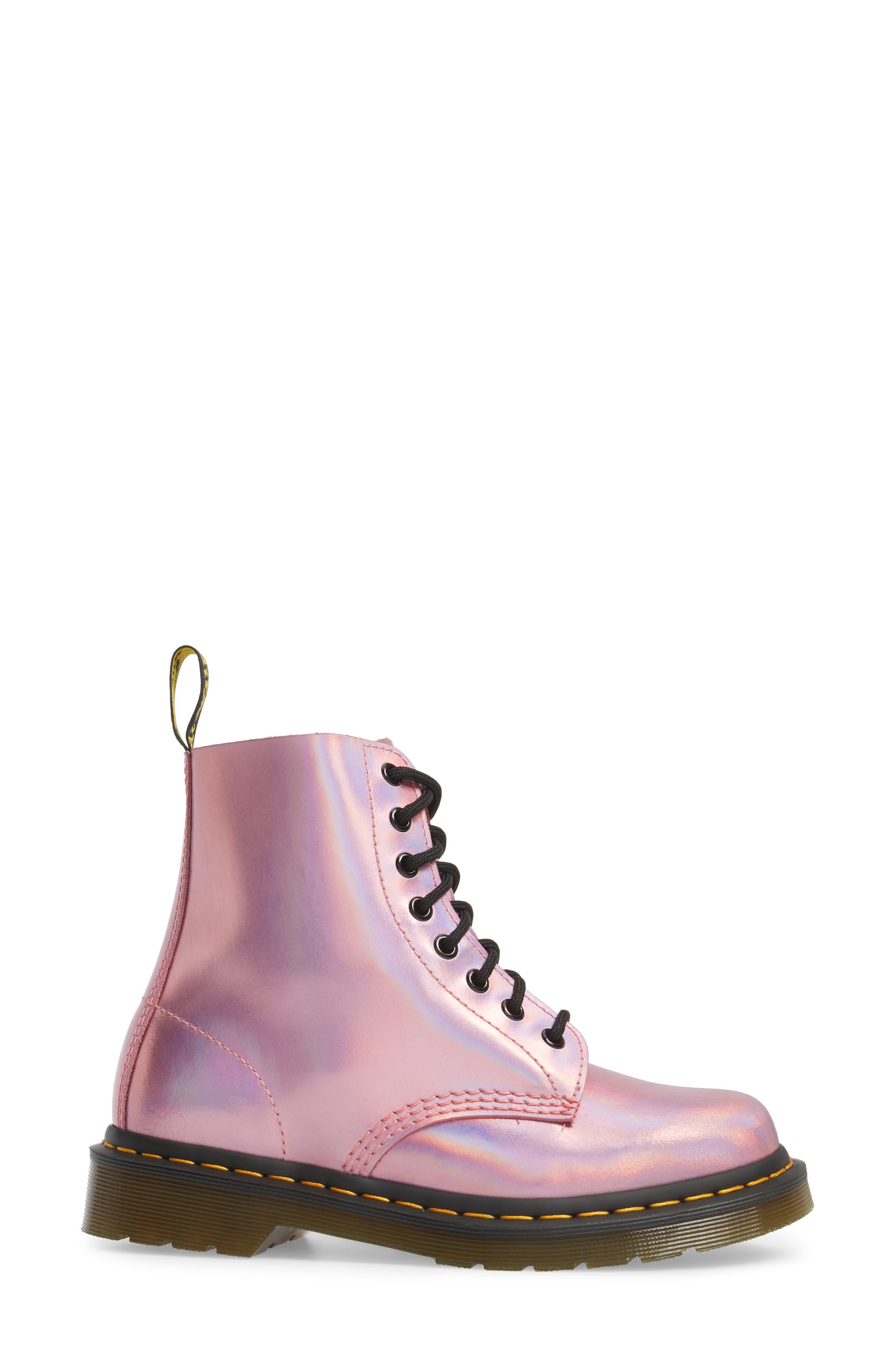 Pascal Metallic Combat Boot,                             Alternate thumbnail 4, color,                             Pink Metallic Leather