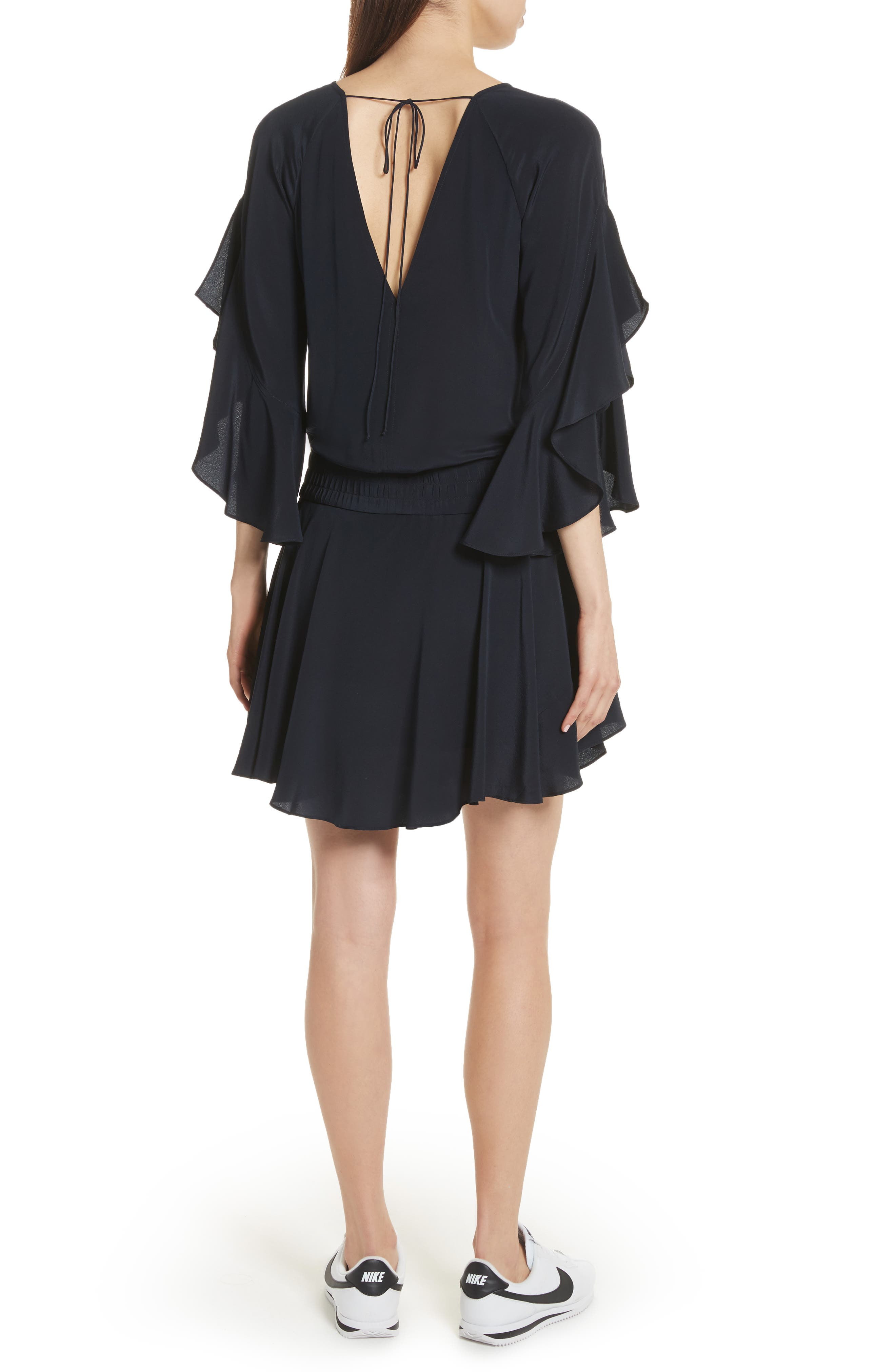 Cannon Flutter Sleeve Silk Dress,                             Alternate thumbnail 2, color,                             Midnight