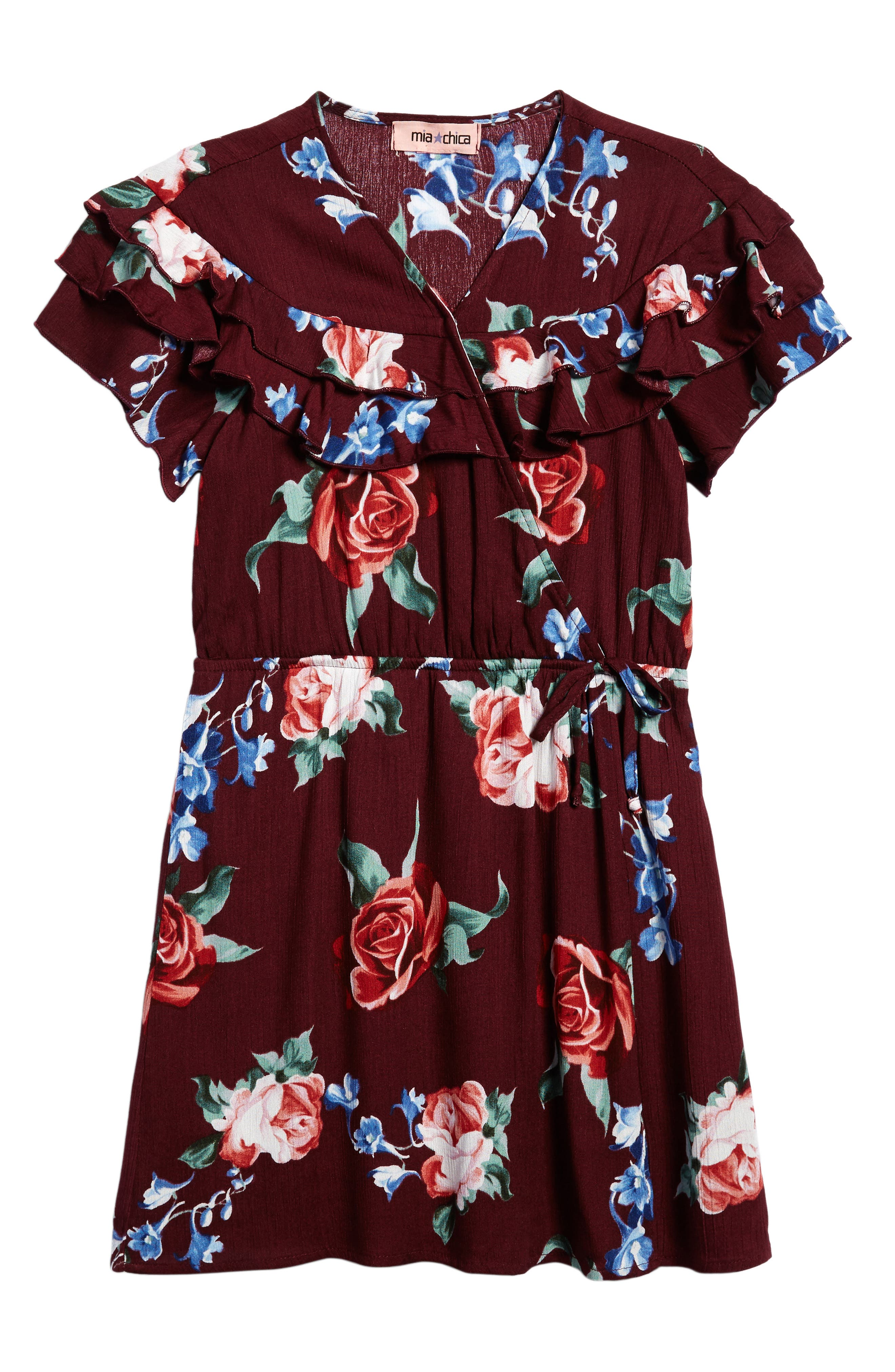 Floral Ruffle Dress,                         Main,                         color, Rayon Gauze Wine