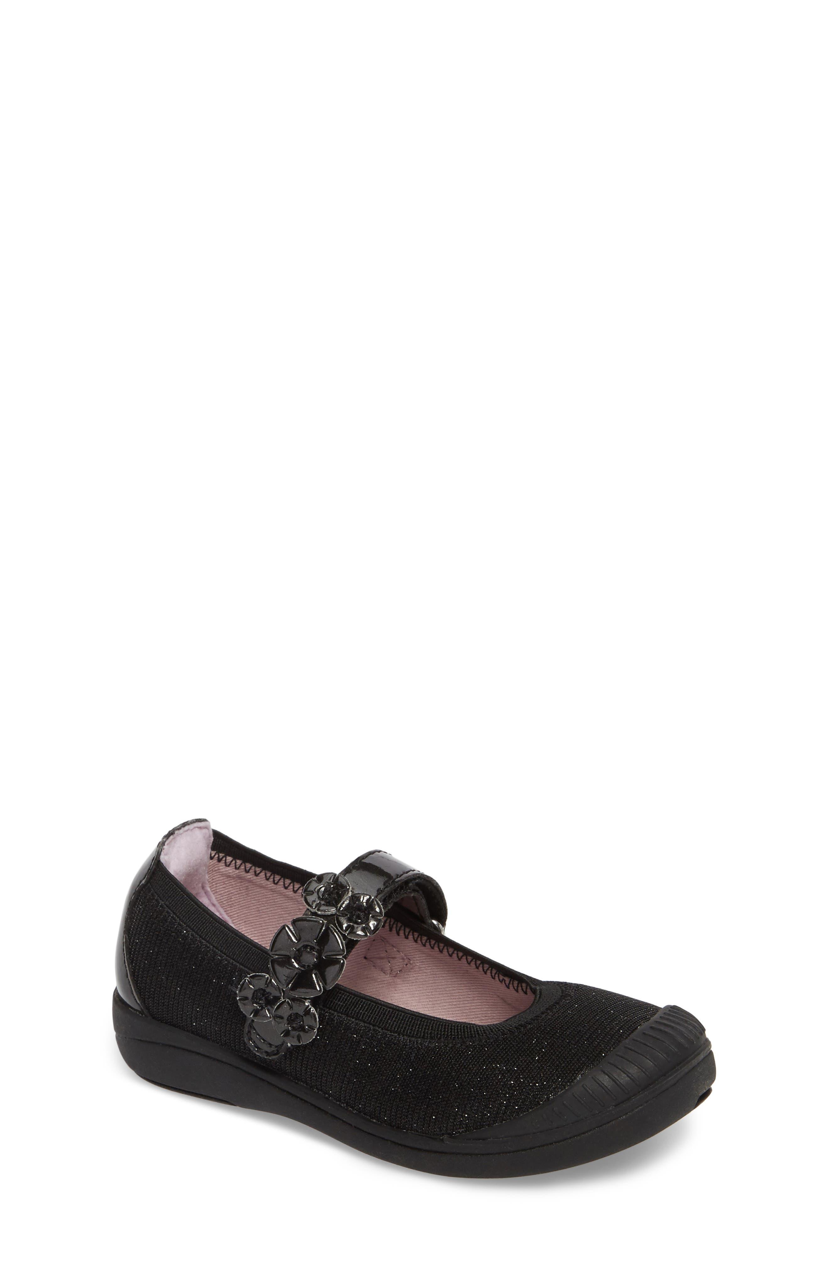 Layla Mary Jane Flat,                         Main,                         color, Black Textile