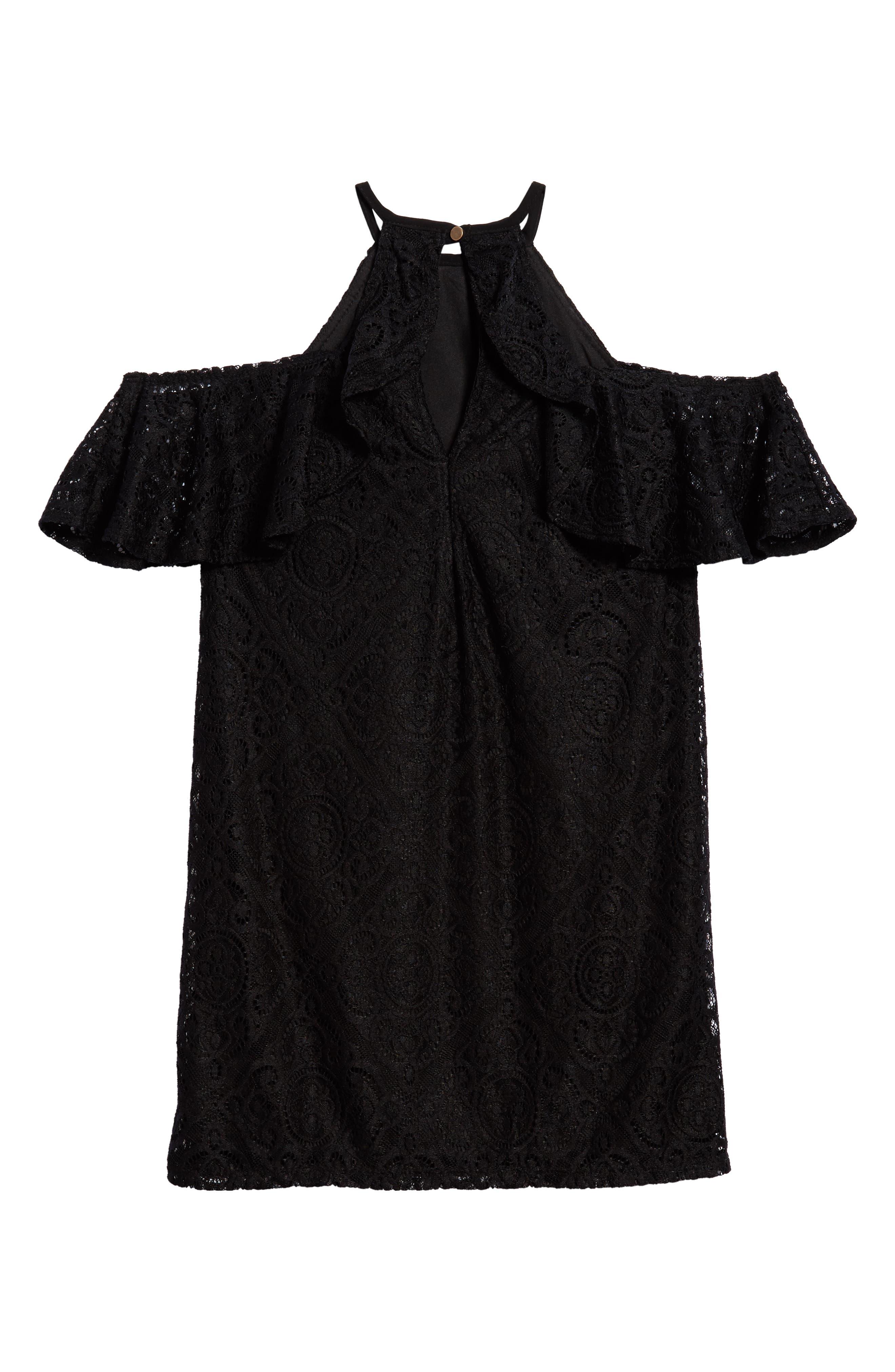 Lace Ruffle Cold Shoulder Dress,                             Alternate thumbnail 2, color,                             Black