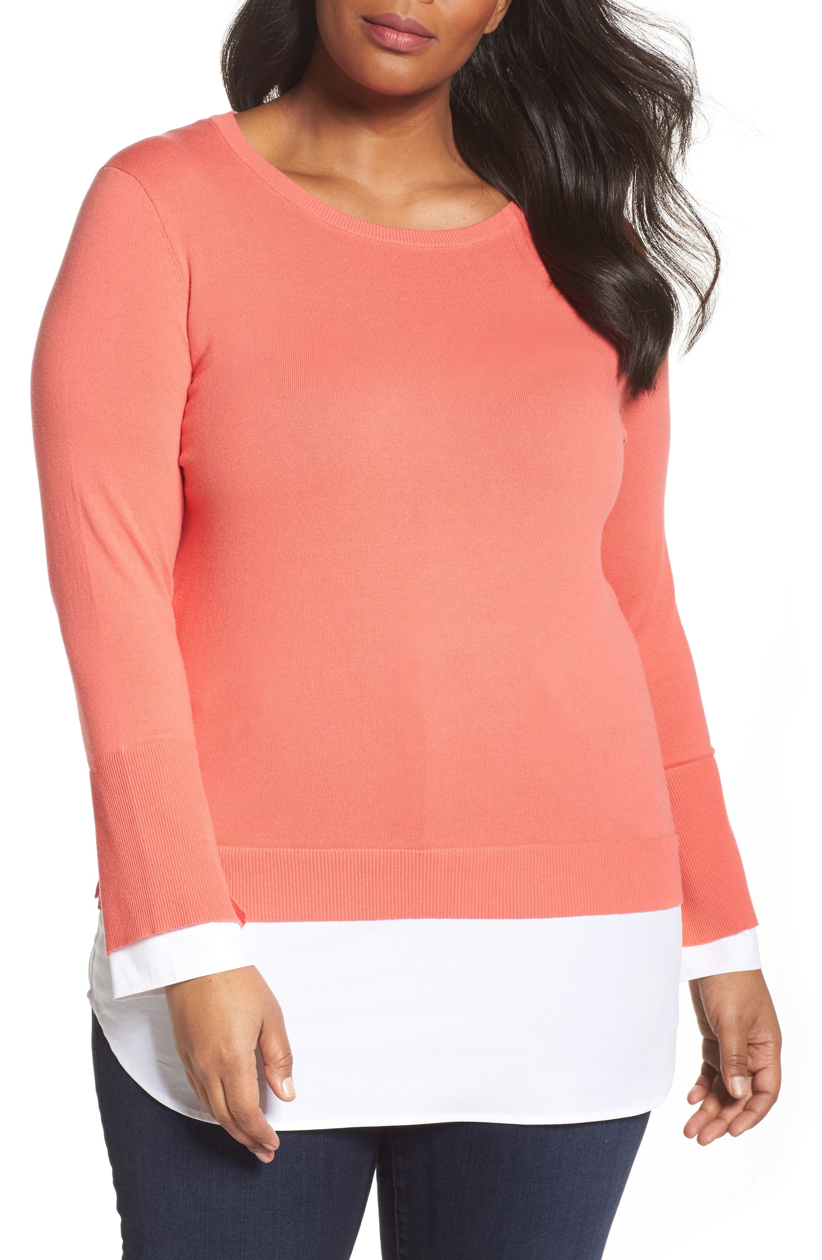 Vince Camuto Layered Look Sweater (Plus Size)