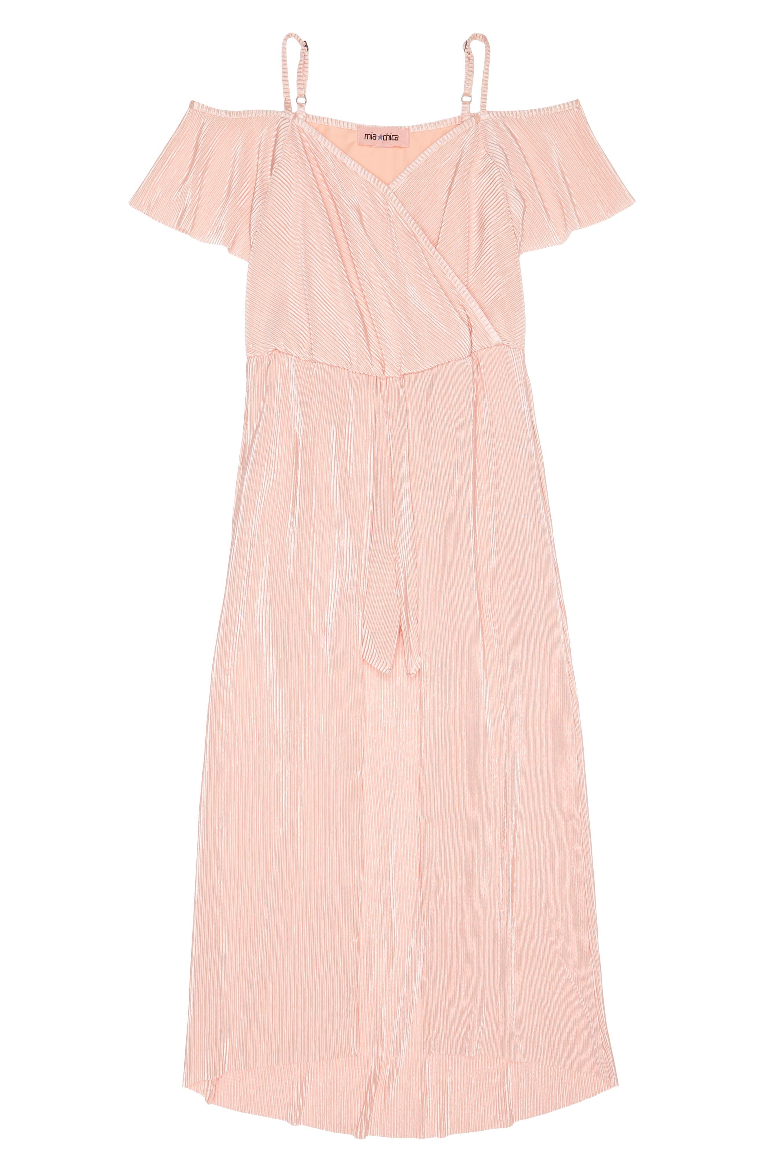 Alternate Image 1 Selected - Mia Chica Plissé Maxi Romper (Big Girls)