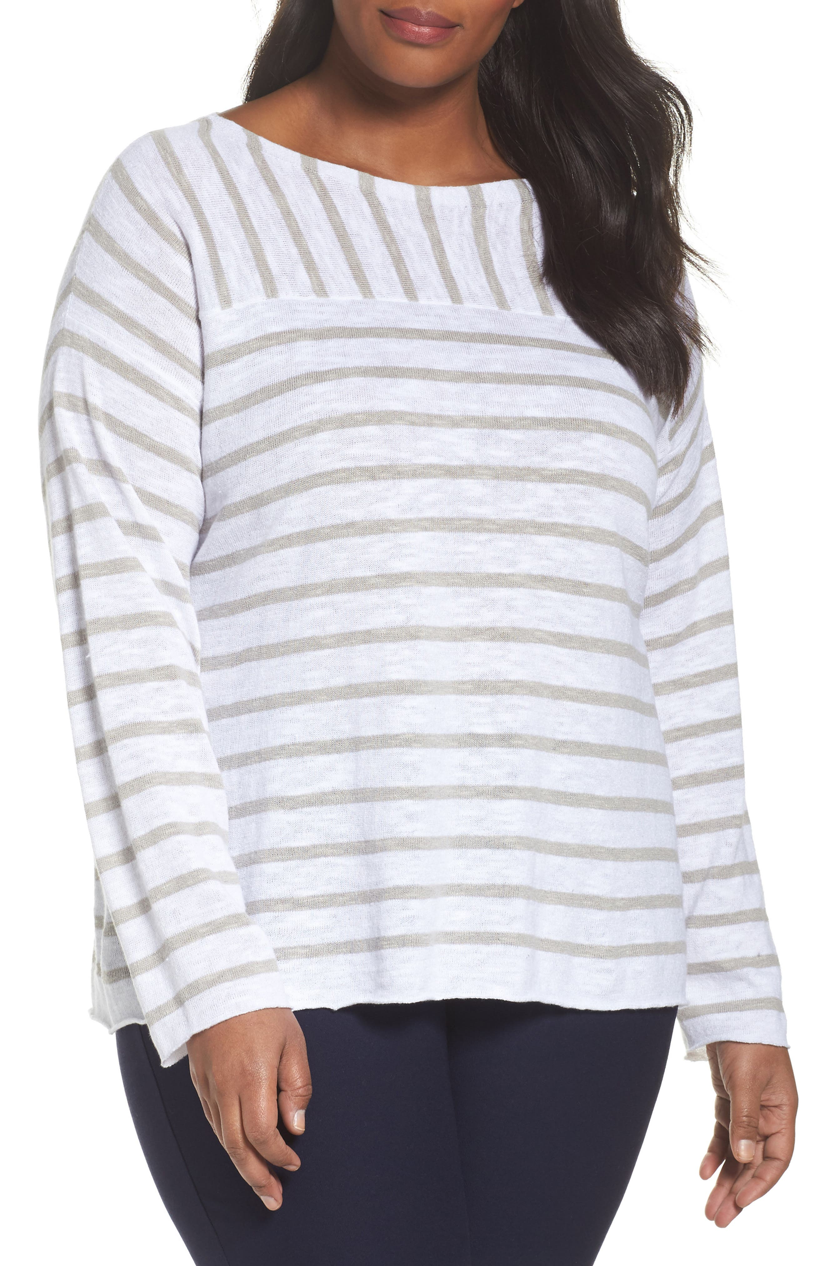 Alternate Image 1 Selected - Eileen Fisher Stripe Organic Linen & Cotton Top (Plus Size)