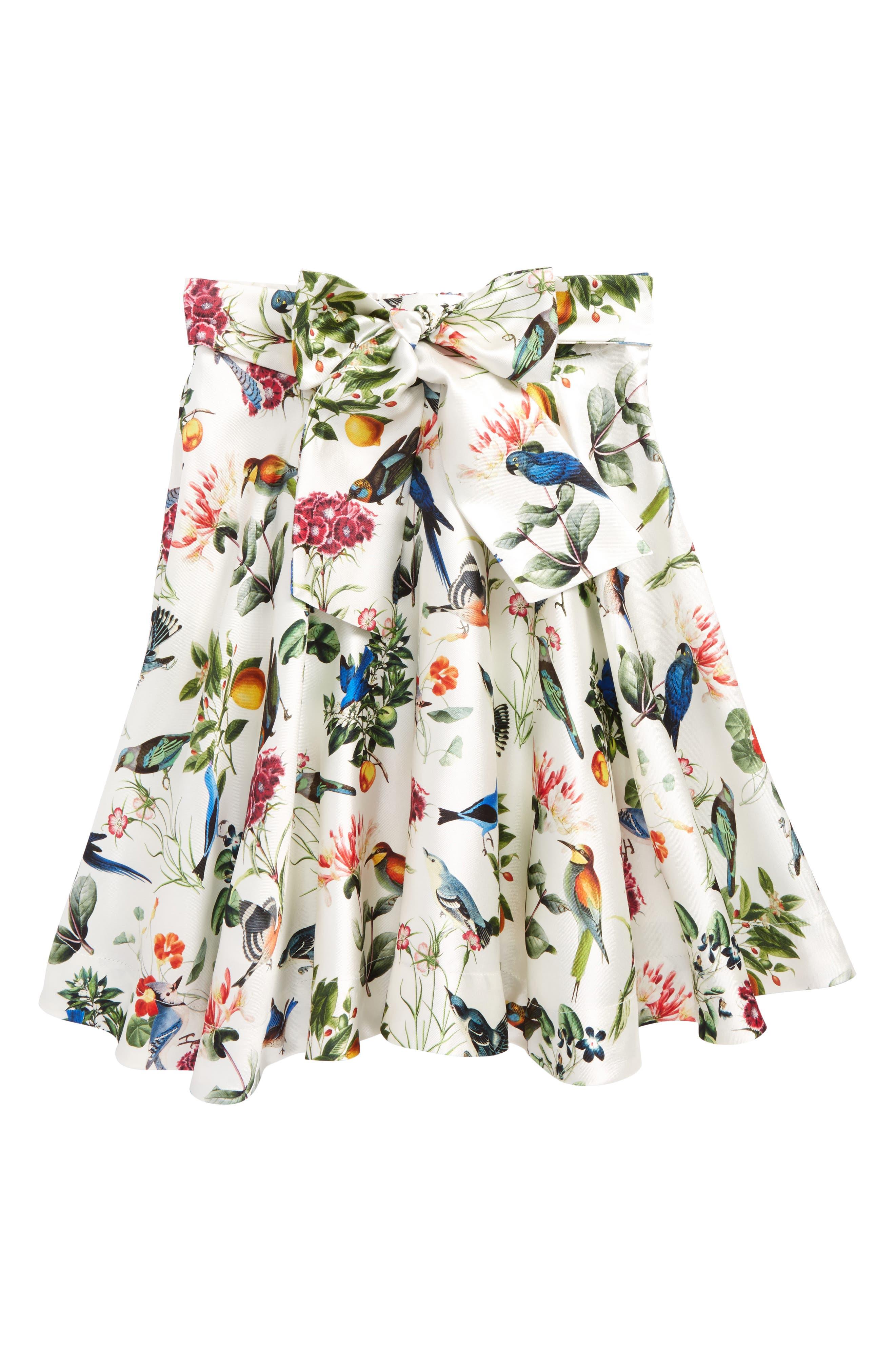 Mikado Botanical Birds Skirt,                         Main,                         color, White Multi