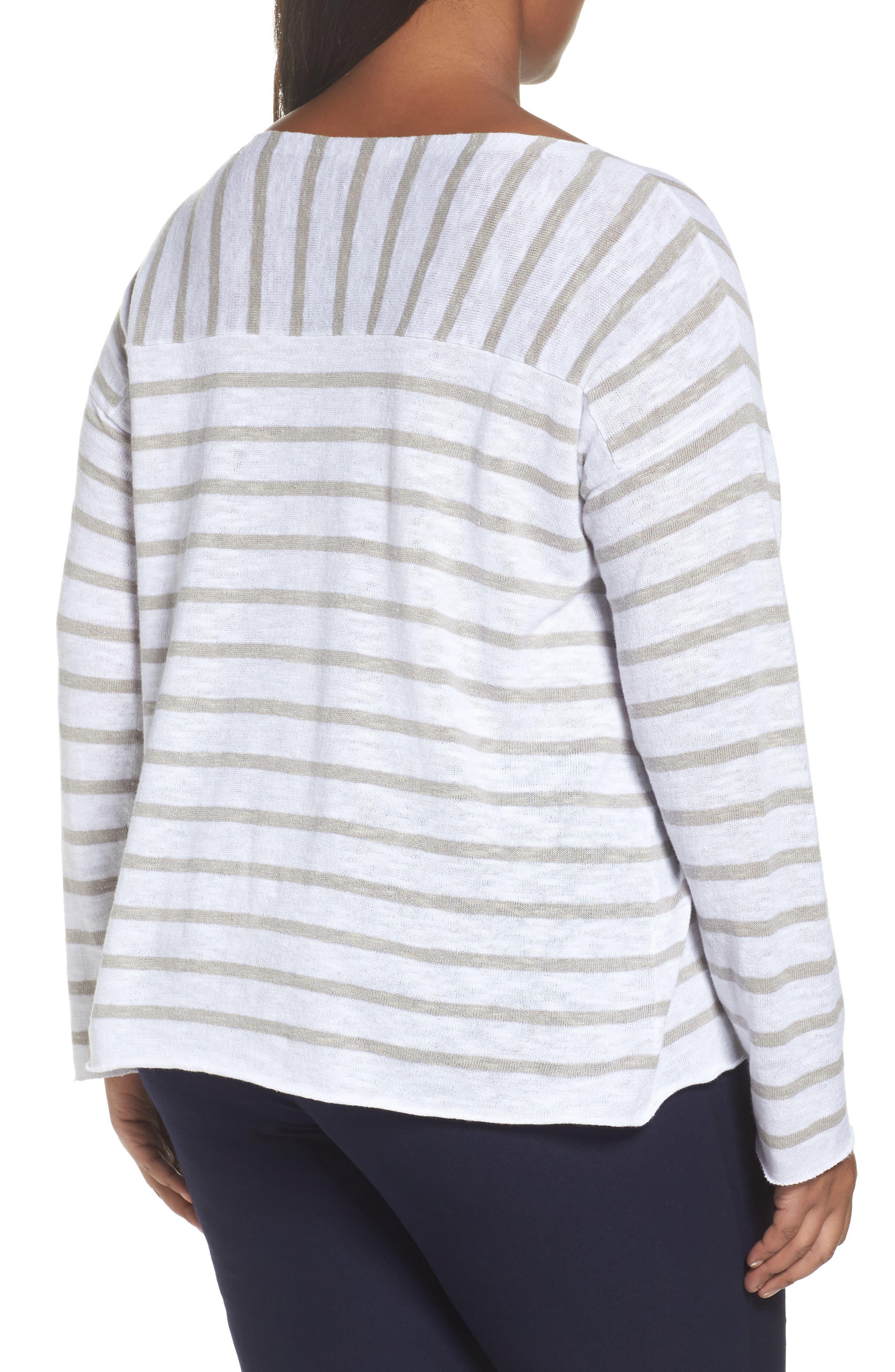 Alternate Image 2  - Eileen Fisher Stripe Organic Linen & Cotton Top (Plus Size)