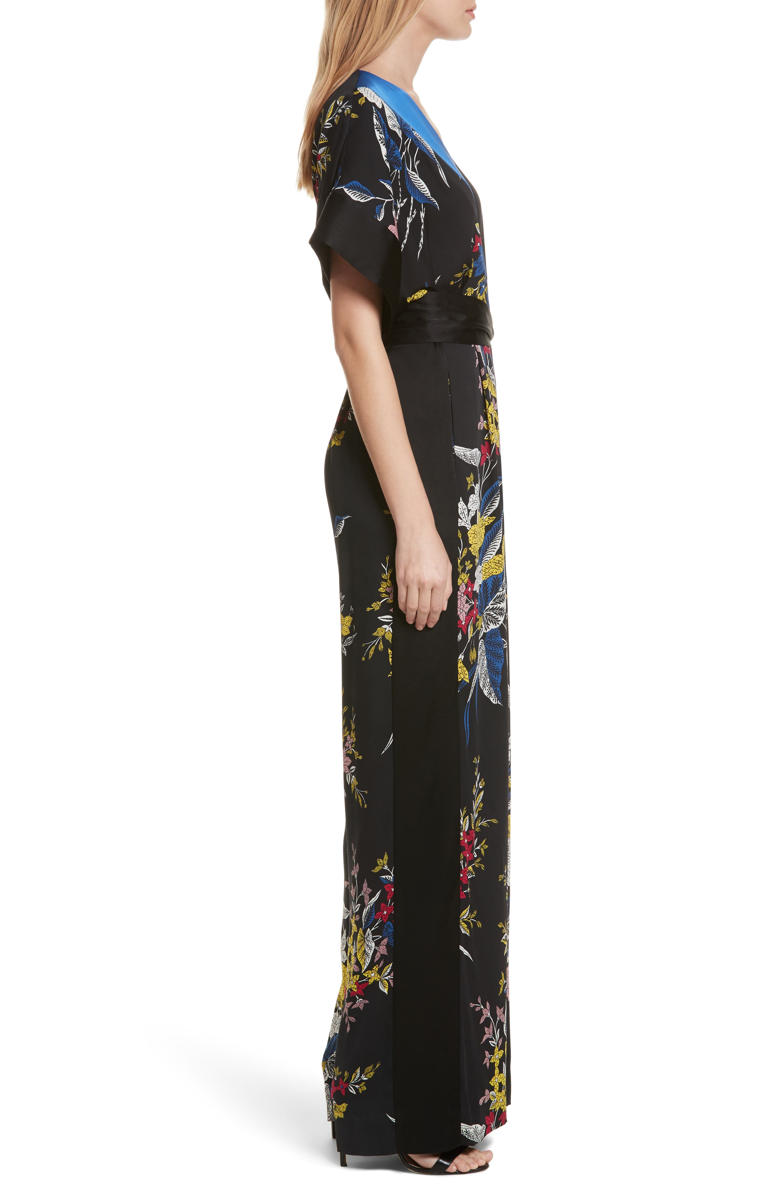 Faux Wrap Colorblock Silk Jumpsuit,                             Alternate thumbnail 3, color,                             Camden Black Multi