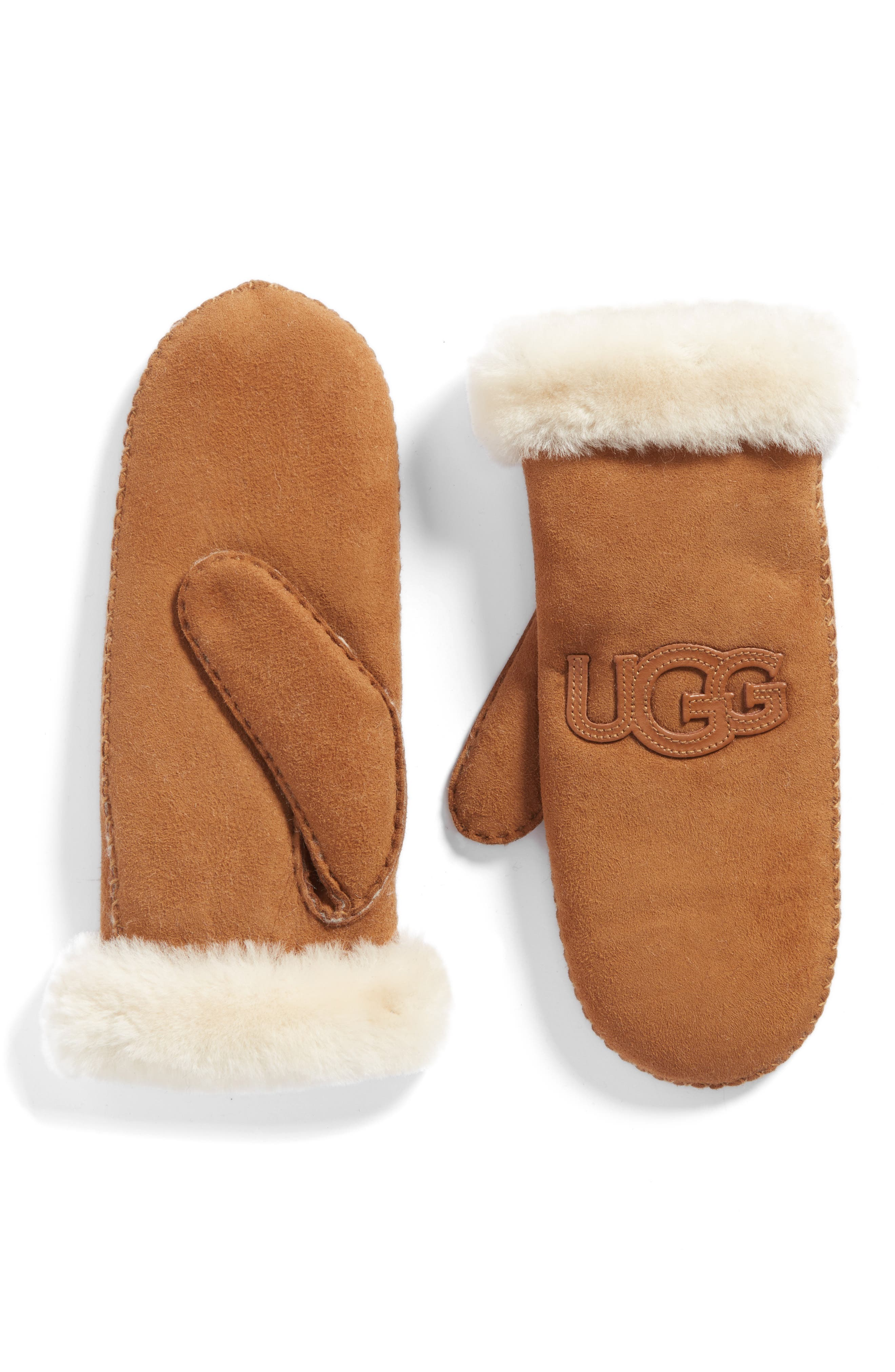 Heritage Logo Genuine Shearling Mittens,                         Main,                         color, Chestnut
