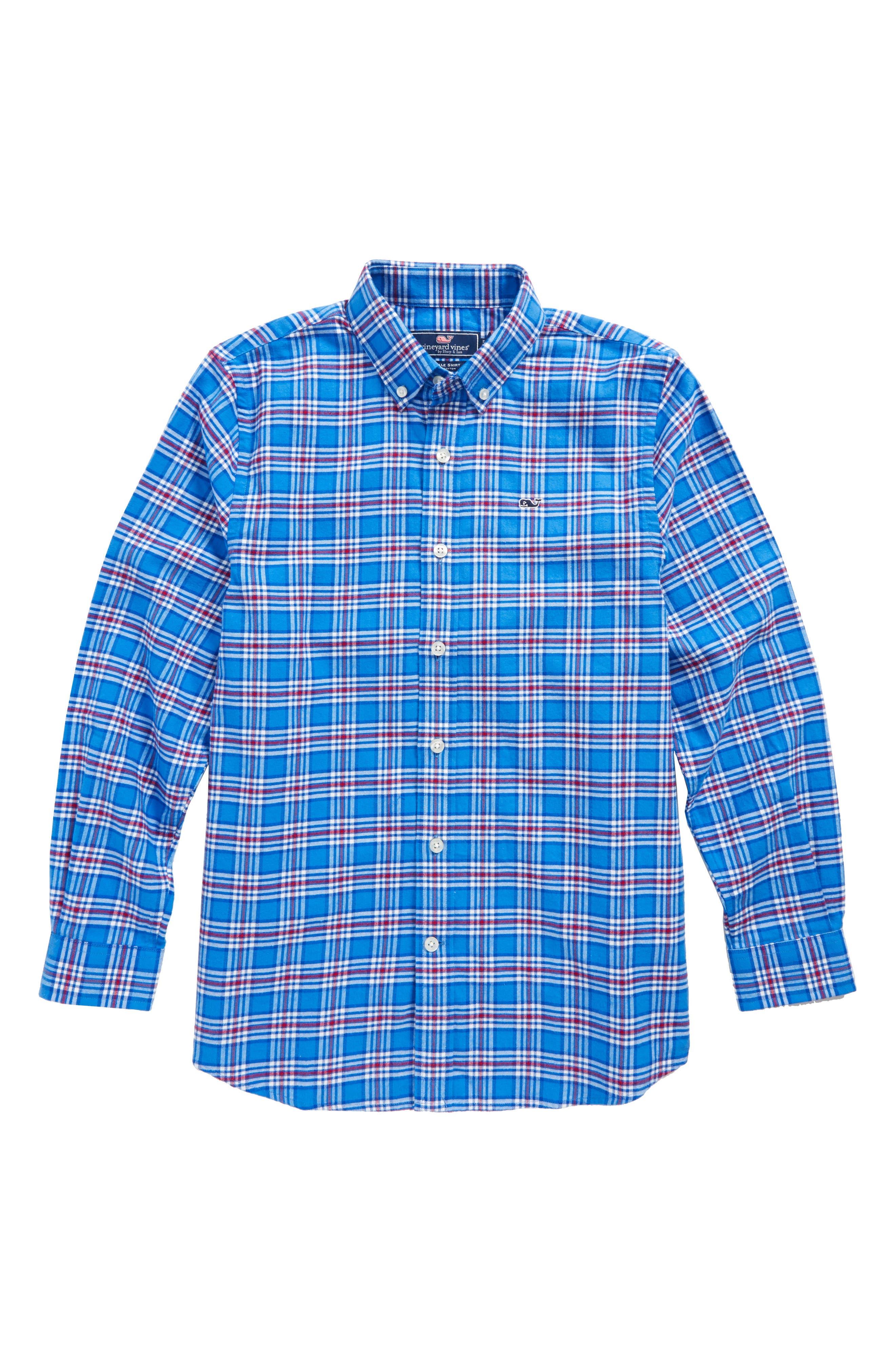 Main Image - vineyard vines Chandler Pond Plaid Flannel Shirt (Big Boys)