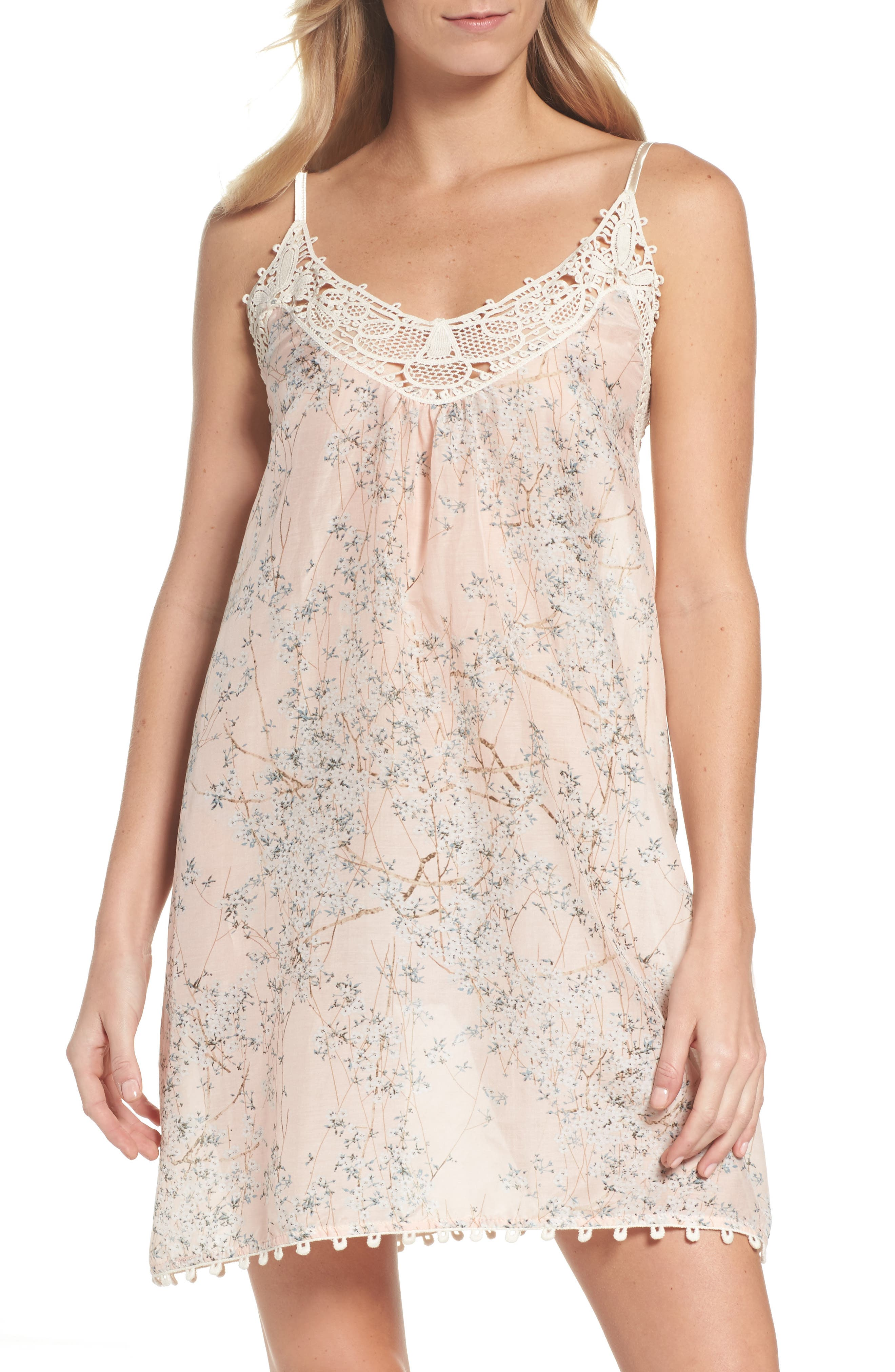 Cherry Blossom Cotton & Silk Chemise,                             Main thumbnail 1, color,                             Pink