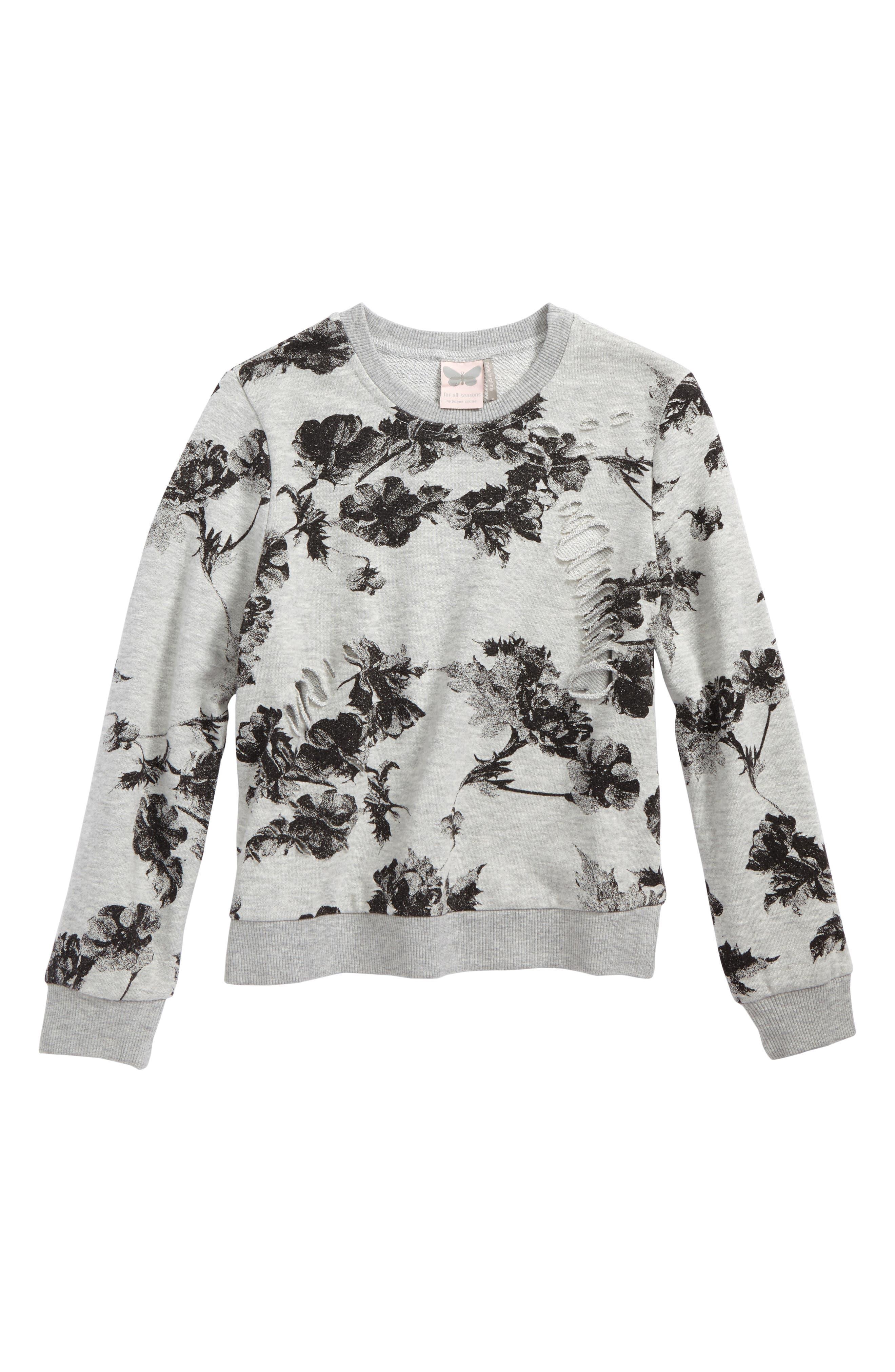 Alternate Image 1 Selected - For All Seasons Floral Print Sweatshirt (Big Girls)