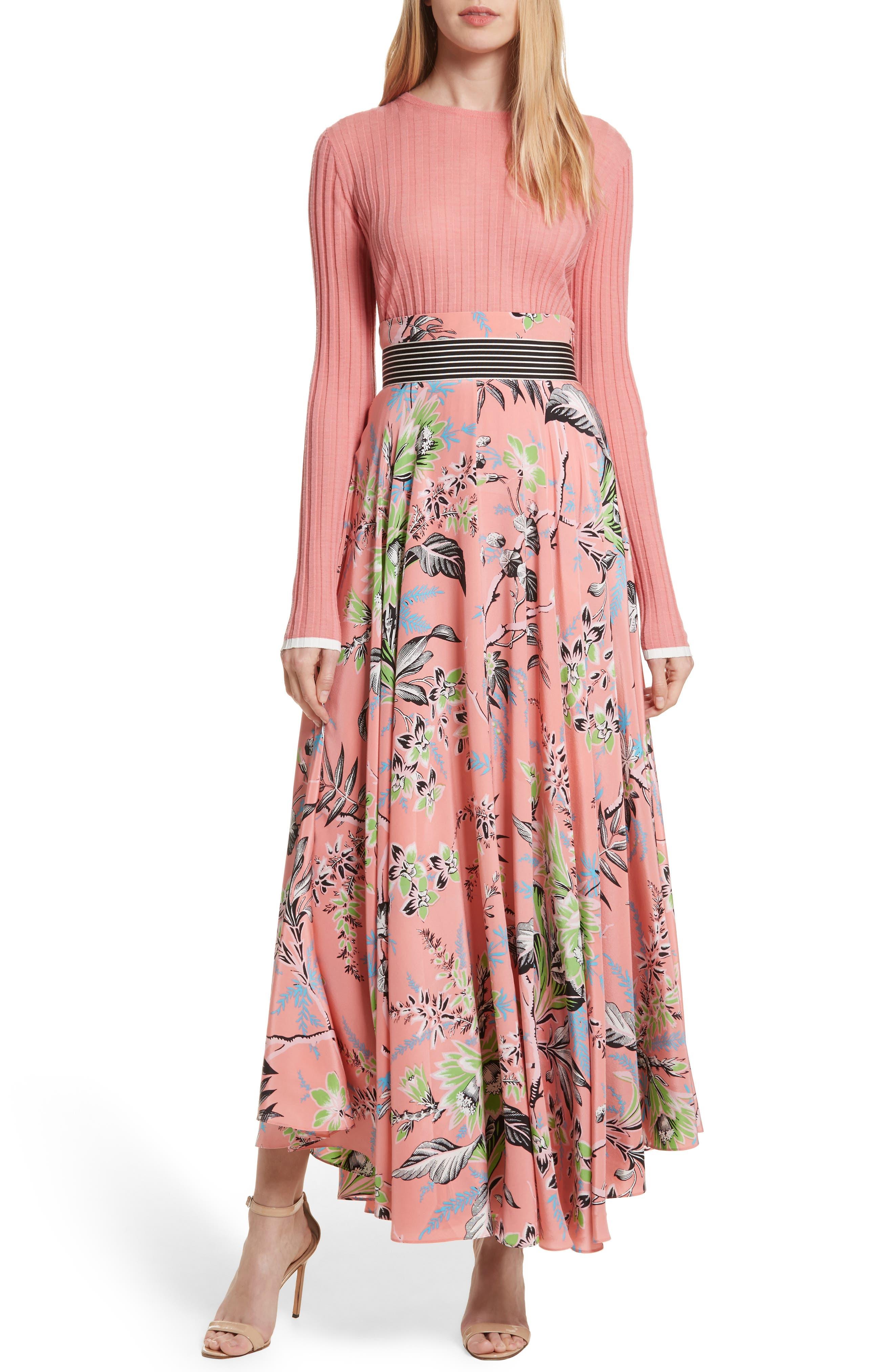 Diane von Furstenberg Draped Silk Maxi Skirt,                             Alternate thumbnail 7, color,                             Avalon Hyacinth