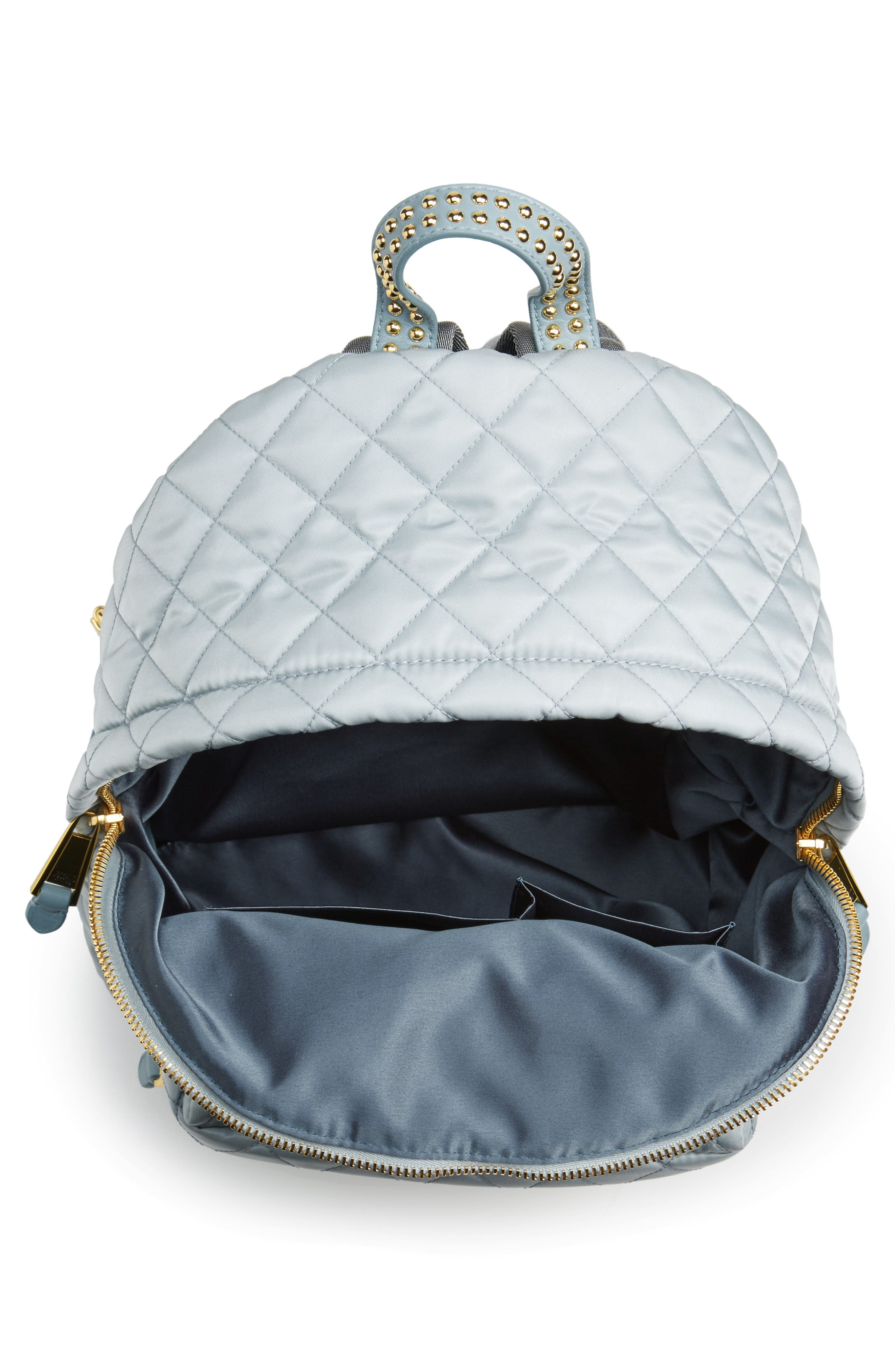 Studded Logo Quilted Nylon Backpack,                             Alternate thumbnail 5, color,                             Light Blue