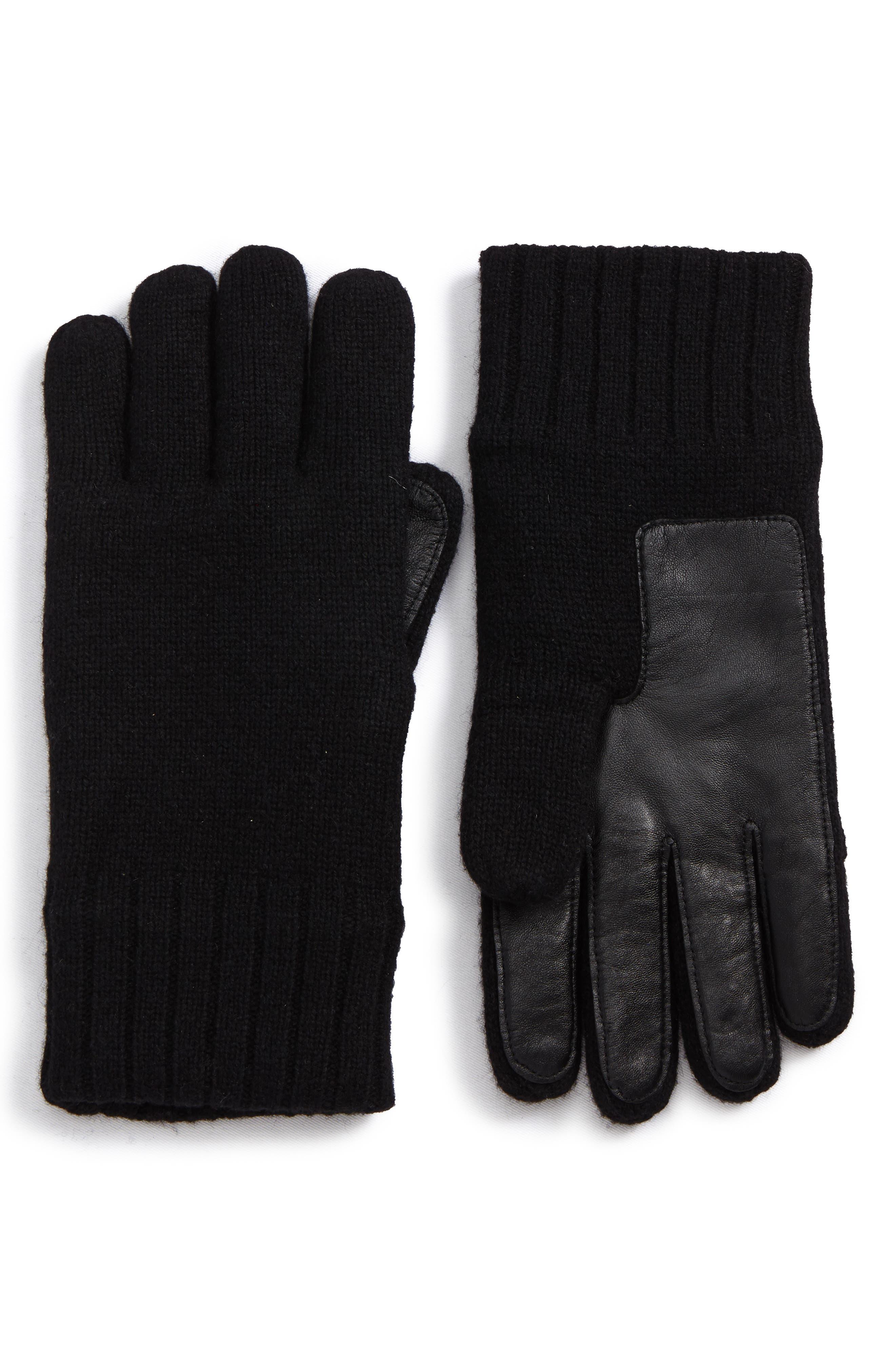 Smart Wool Blend Gloves,                             Main thumbnail 1, color,                             Black
