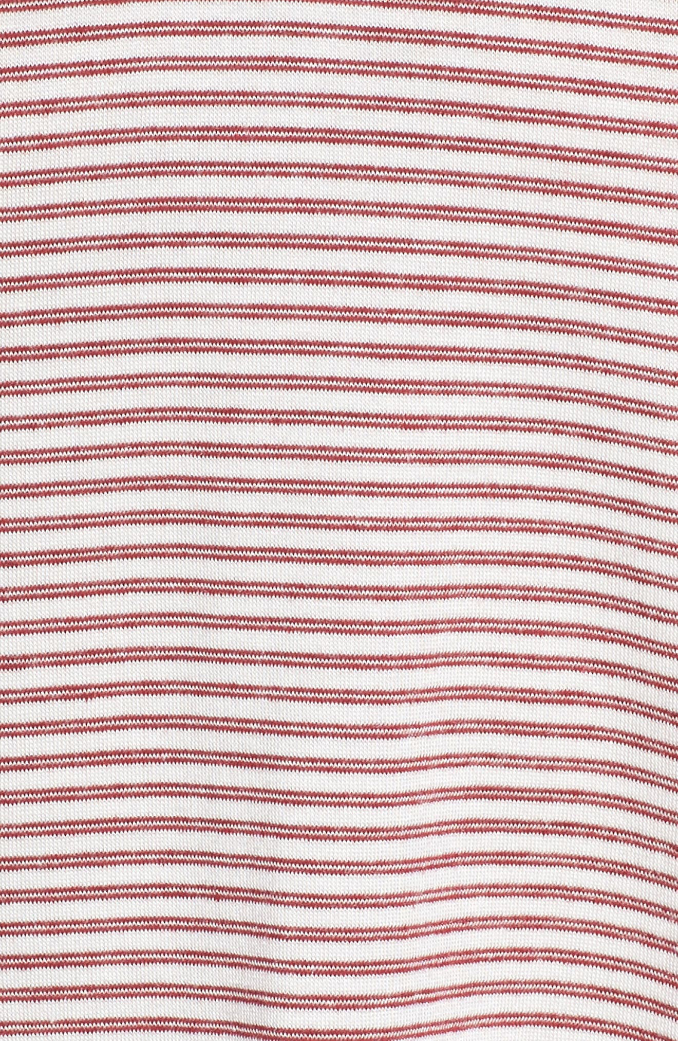 Wilona Back Tie Stripe Tee,                             Alternate thumbnail 6, color,                             Red/ White