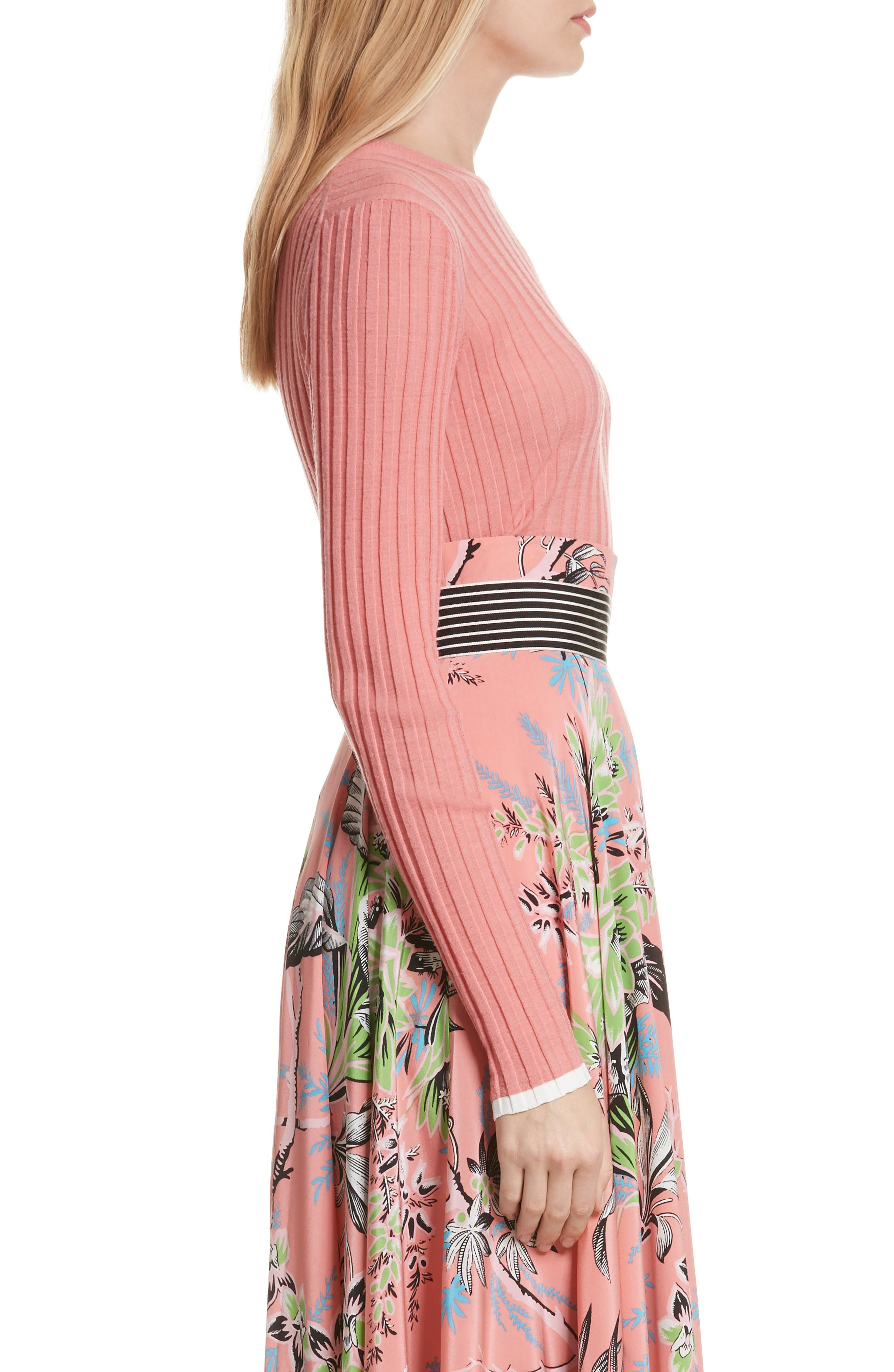 Diane von Furstenberg Ribbed Sweater,                             Alternate thumbnail 3, color,                             Hyacinth/ Ivory
