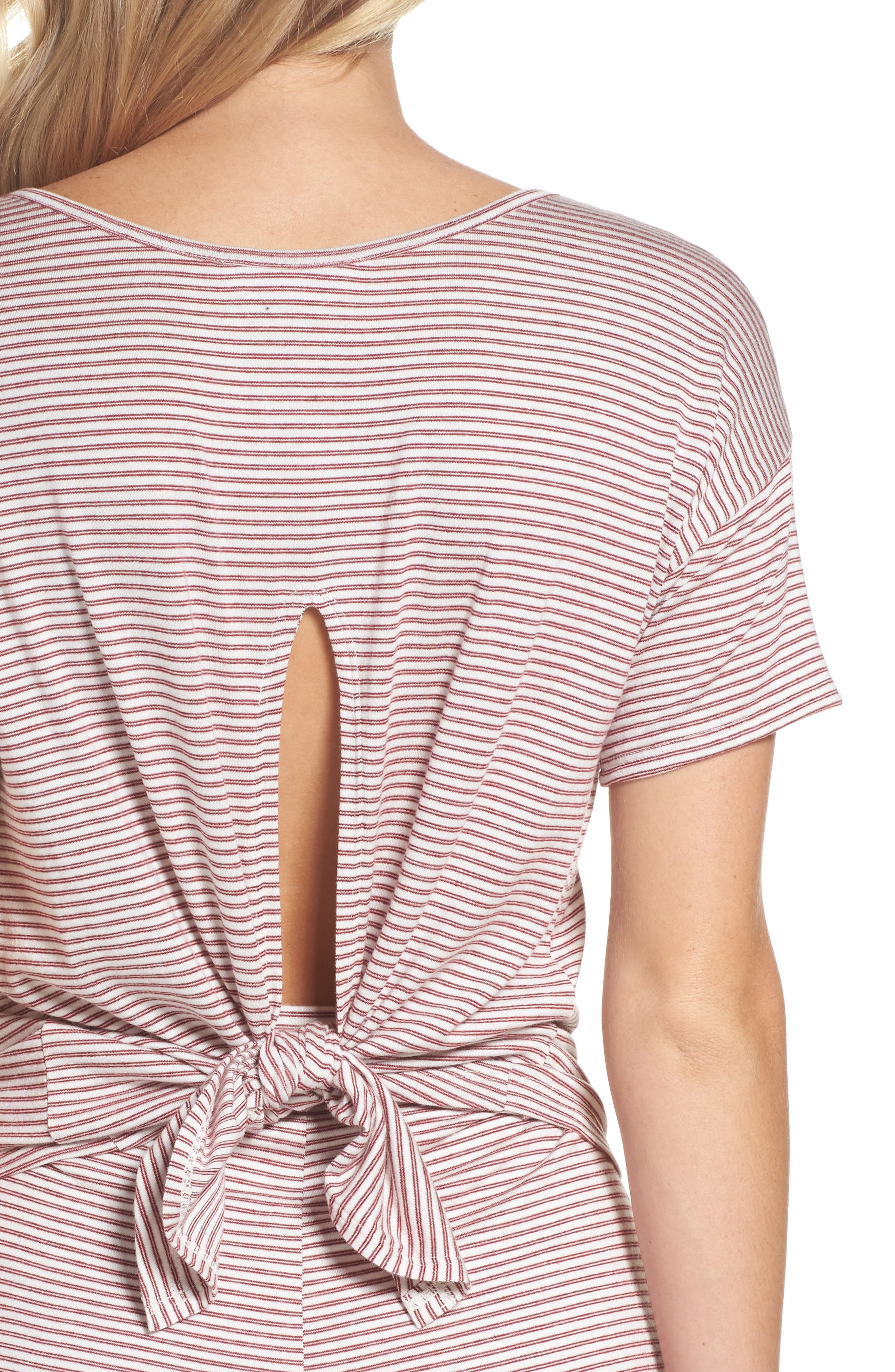 Wilona Back Tie Stripe Tee,                             Alternate thumbnail 5, color,                             Red/ White