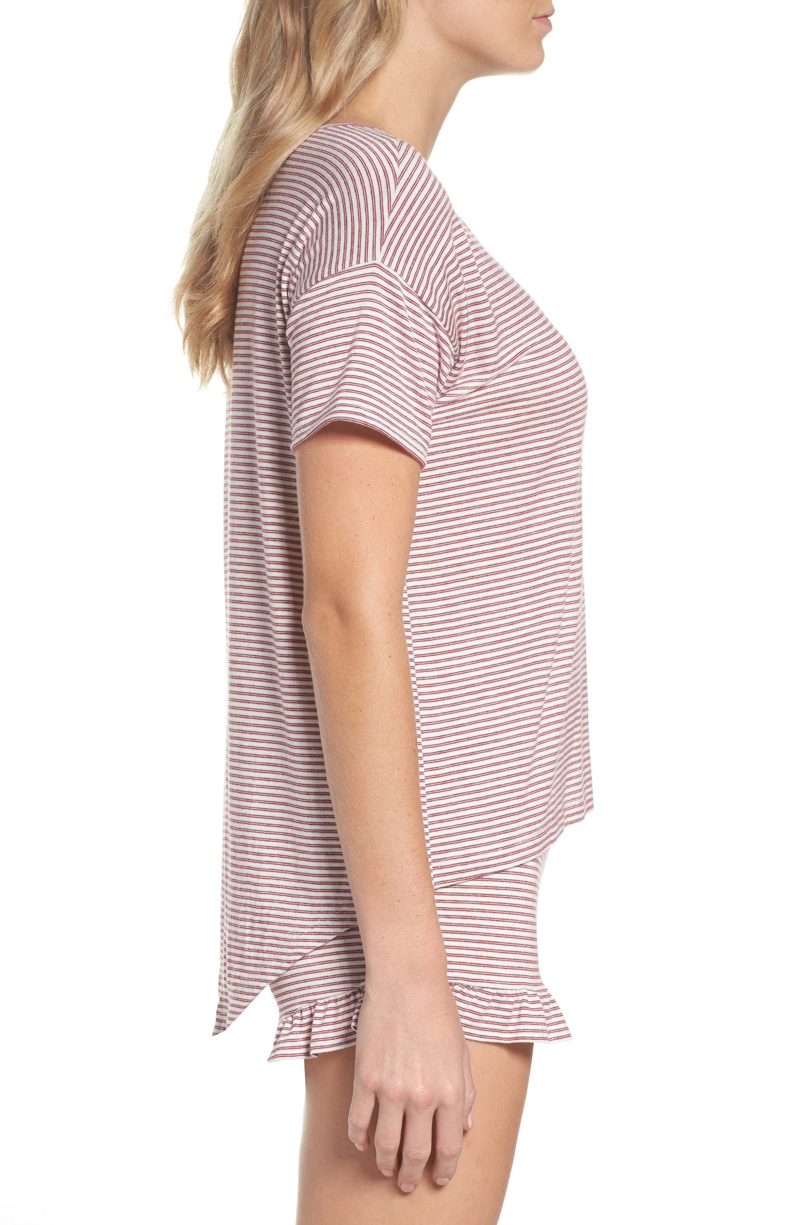 Wilona Back Tie Stripe Tee,                             Alternate thumbnail 3, color,                             Red/ White