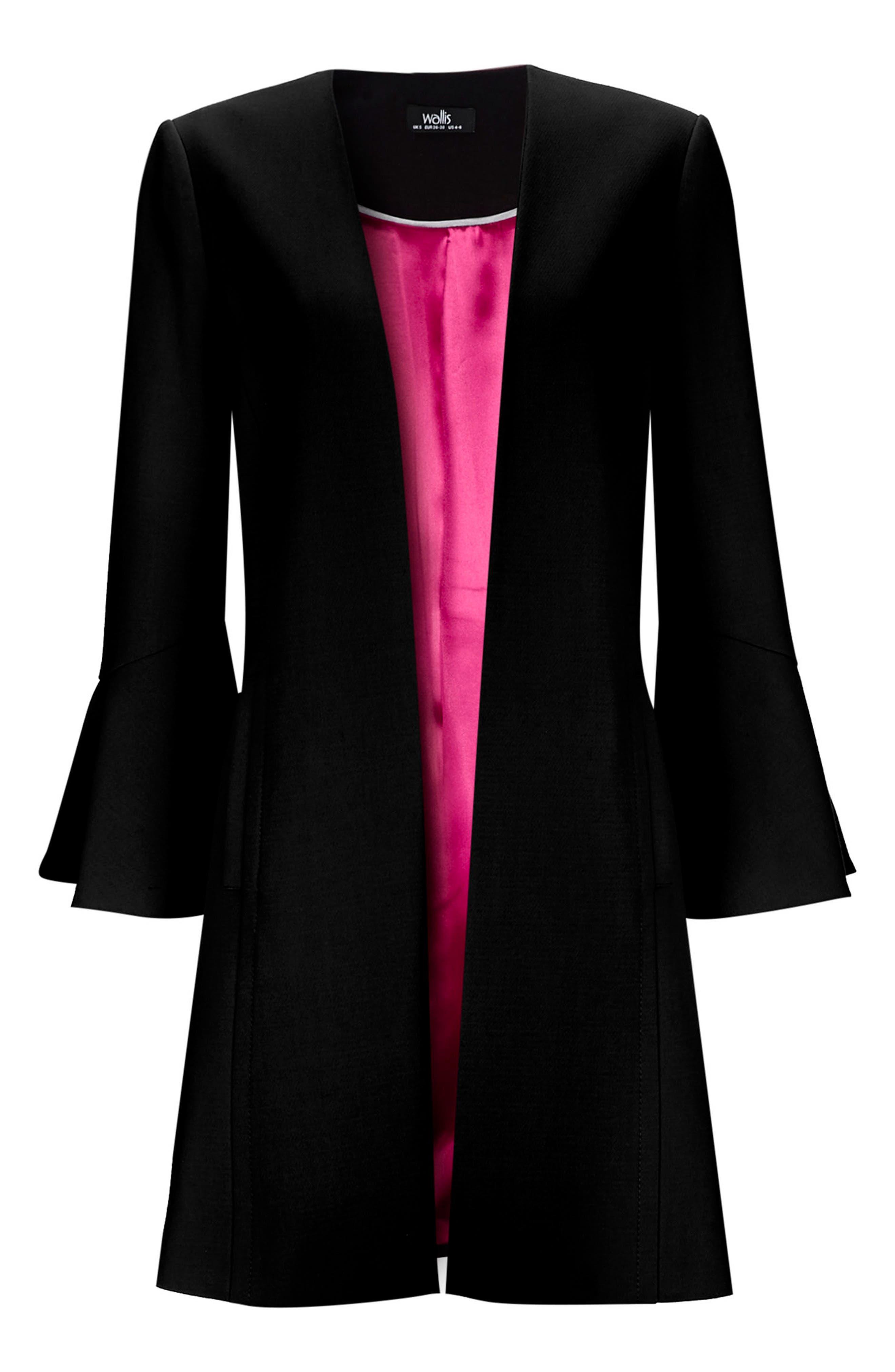 Edge to Edge Flare Sleeve Coat,                             Alternate thumbnail 4, color,                             Black