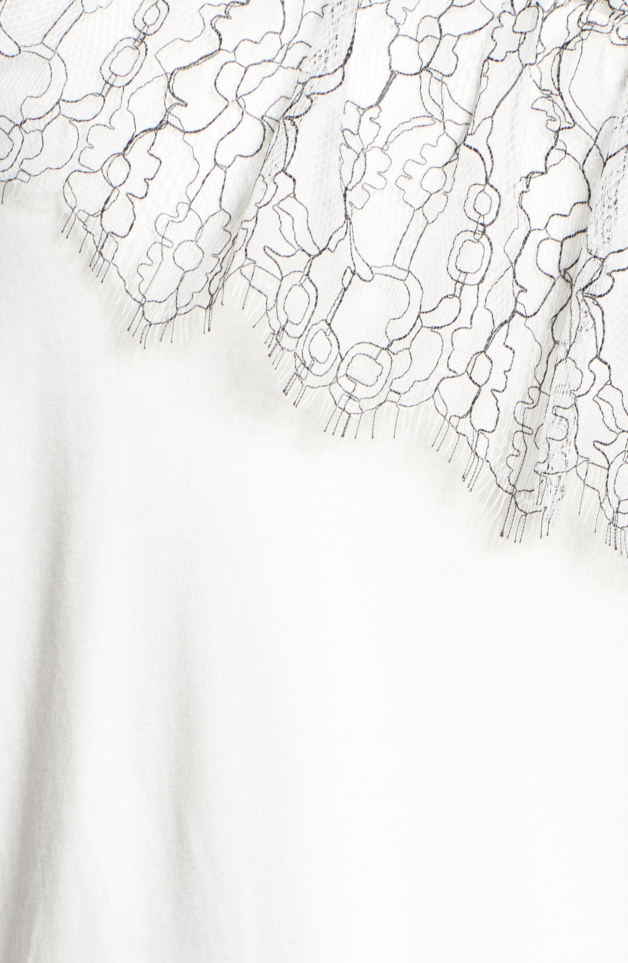 Asymmetrical Lace Tee,                             Alternate thumbnail 5, color,                             White- Black