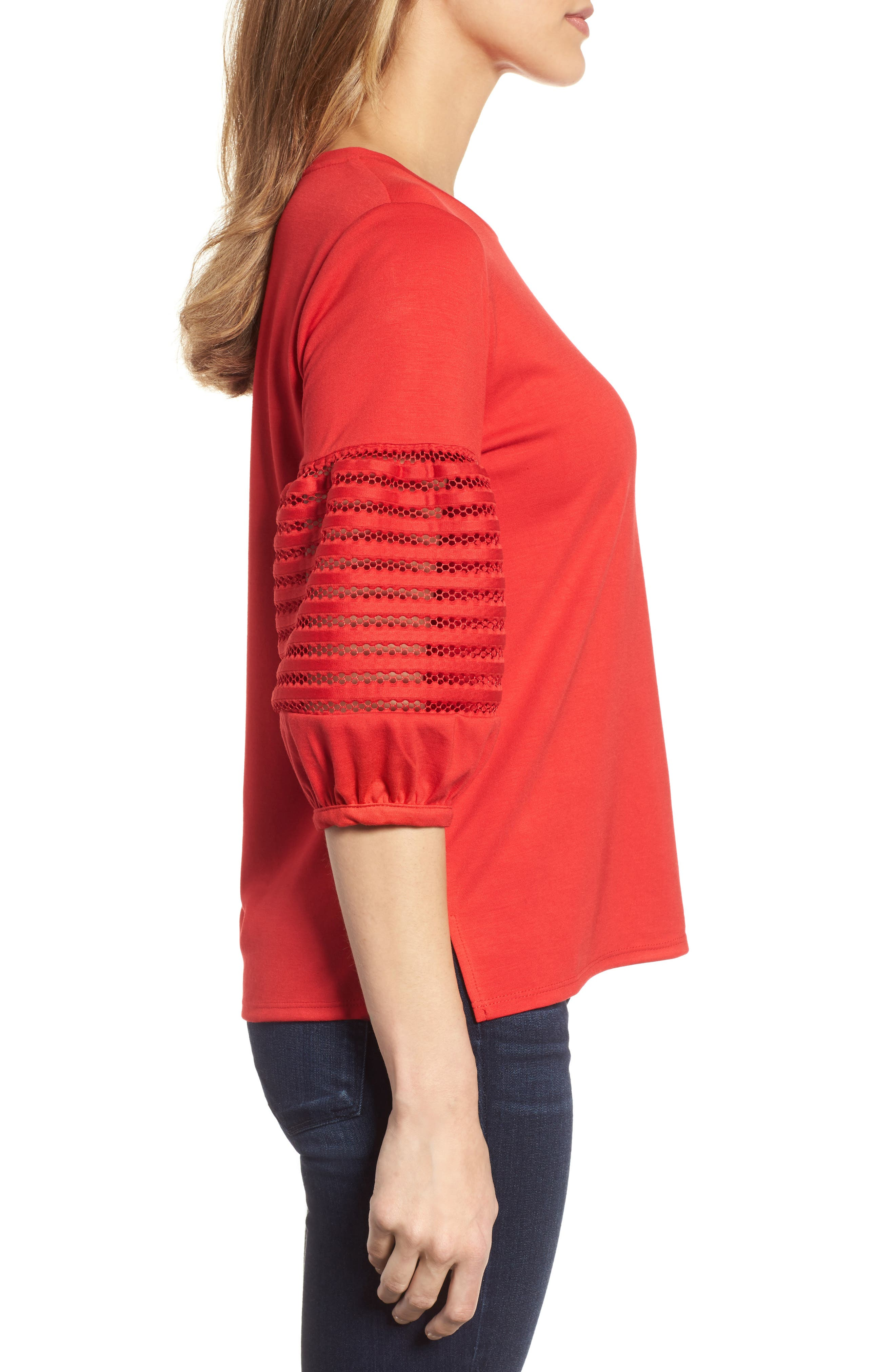 Baby Ponte Bubble Sleeve Lace Shirt,                             Alternate thumbnail 3, color,                             Red
