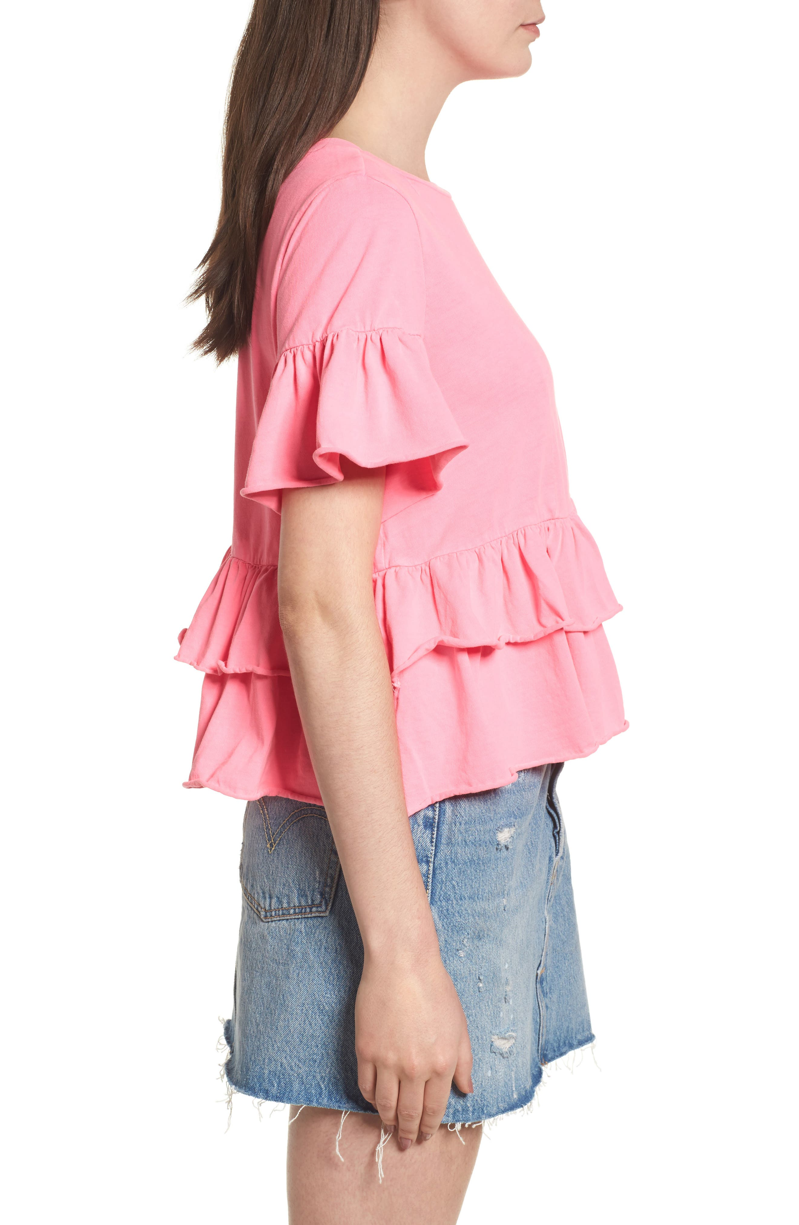 Double Peplum Ruffle Tee,                             Alternate thumbnail 3, color,                             Pink Zenna