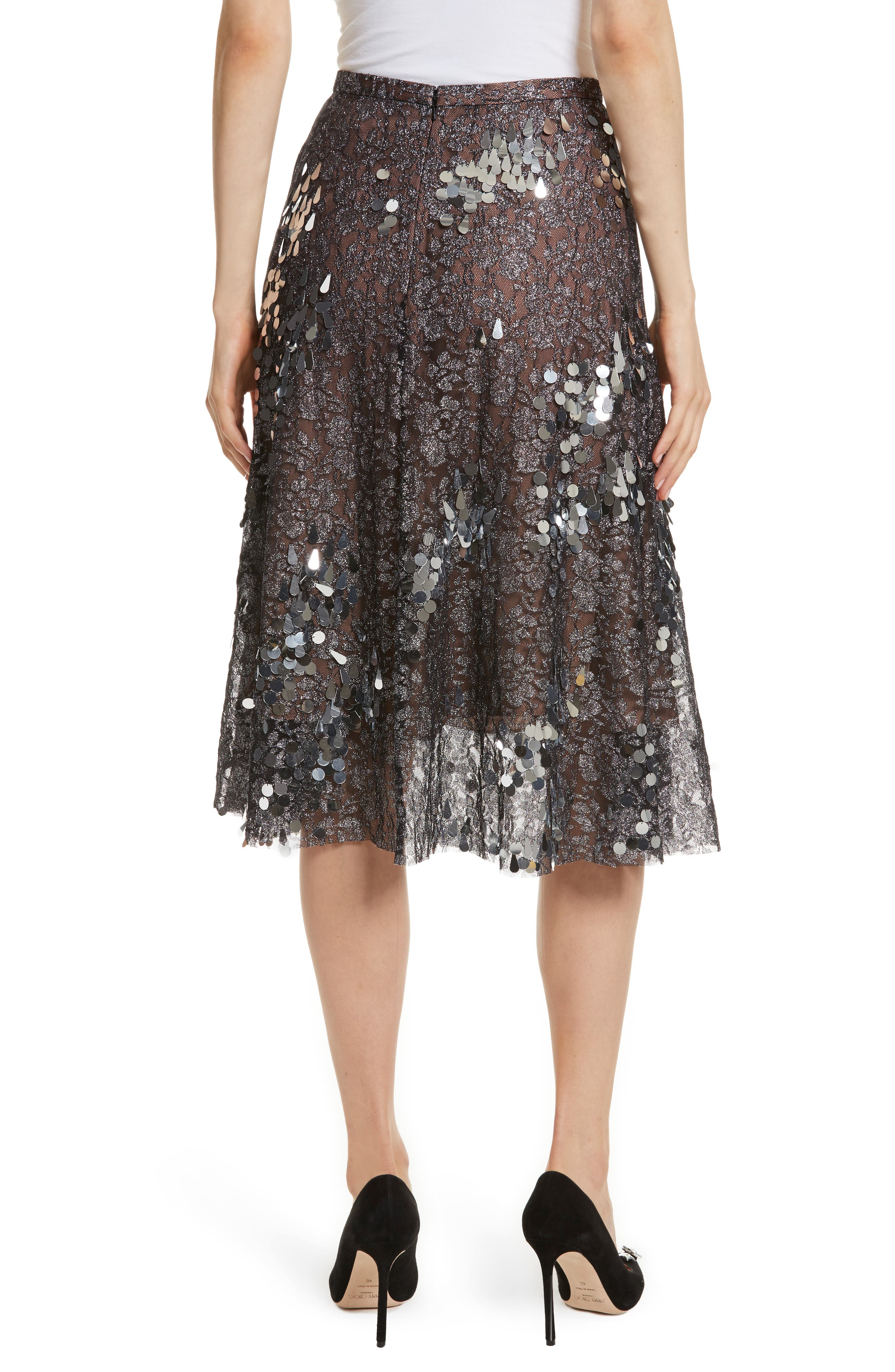 Sequin Flared Skirt,                             Alternate thumbnail 2, color,                             Antique Silver