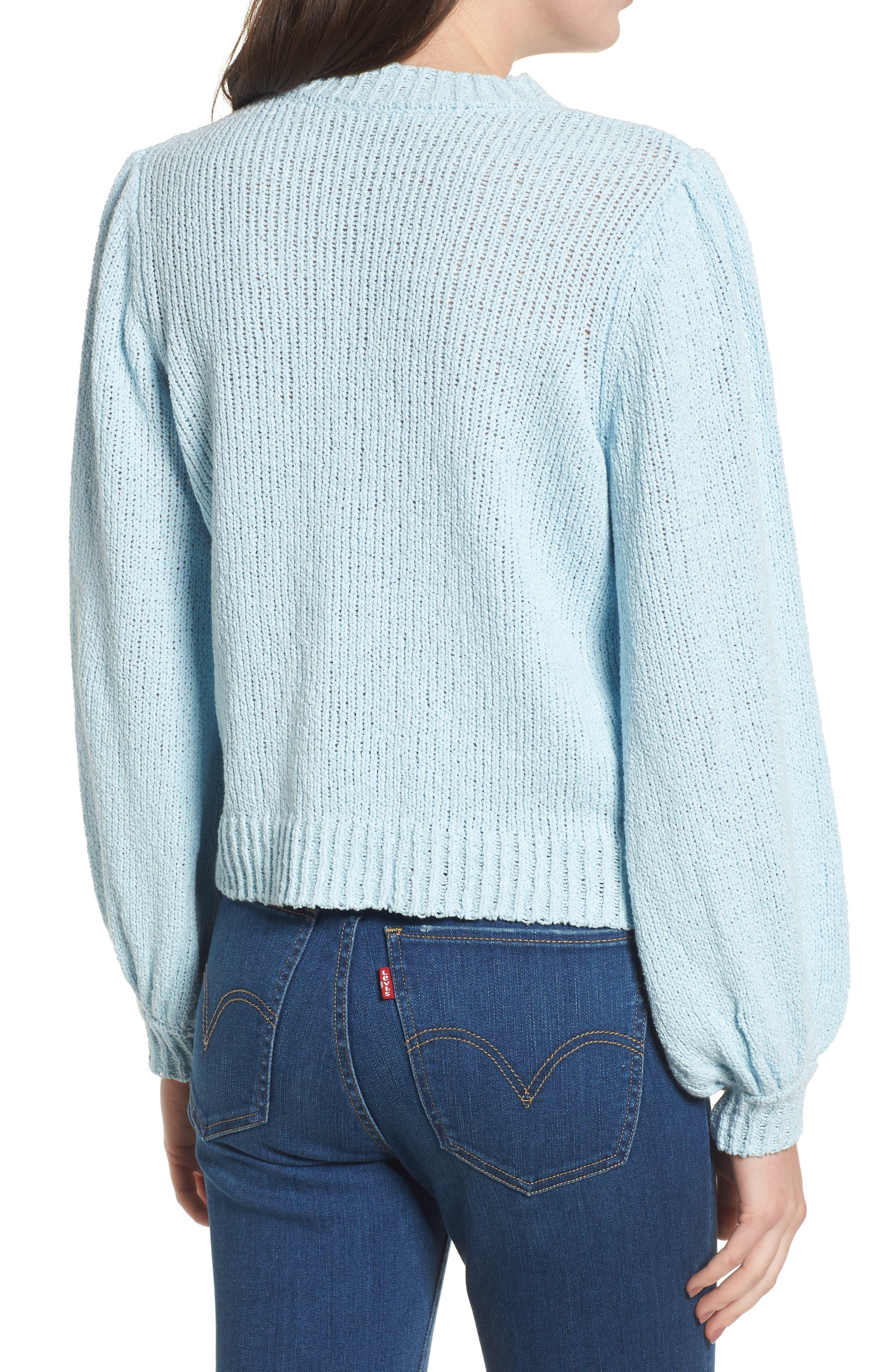 Blouson Sleeve Sweater,                             Alternate thumbnail 2, color,                             Blue Omphalodes