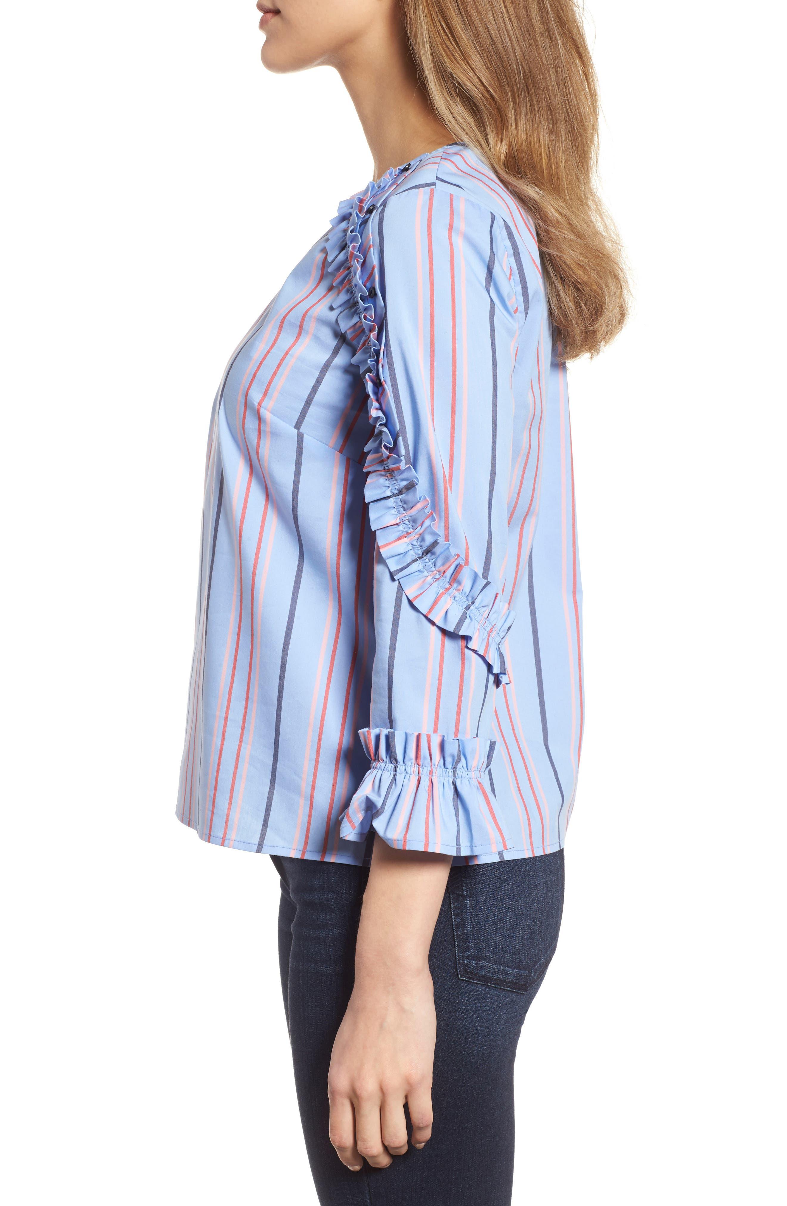 Ruffle Detail Poplin Shirt,                             Alternate thumbnail 3, color,                             Blue Multi Stripe