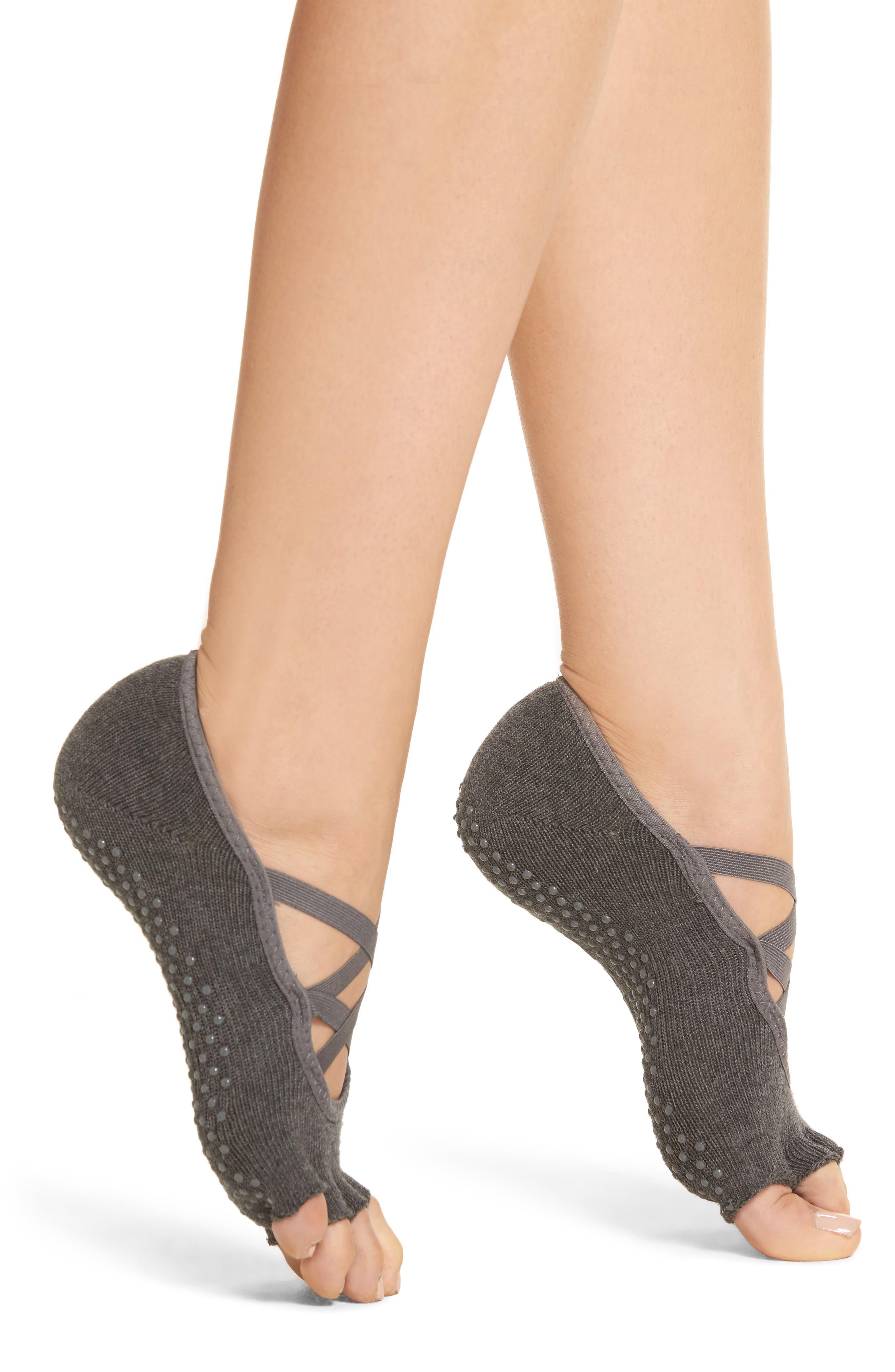 TOESOX Elle Half Toe Gripper Socks in Charcoal