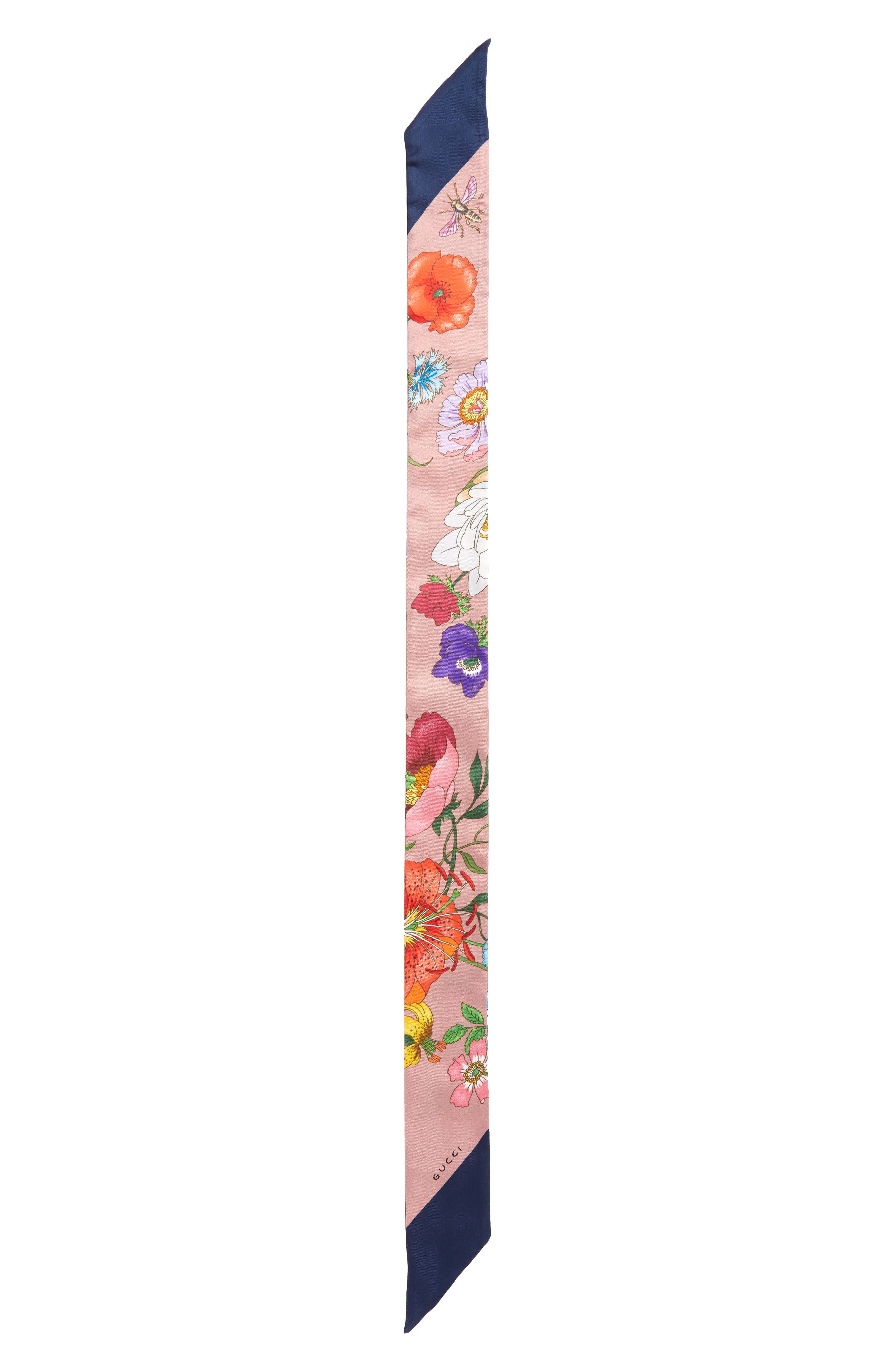 Gucci Floral Print Silk Neck Scarf